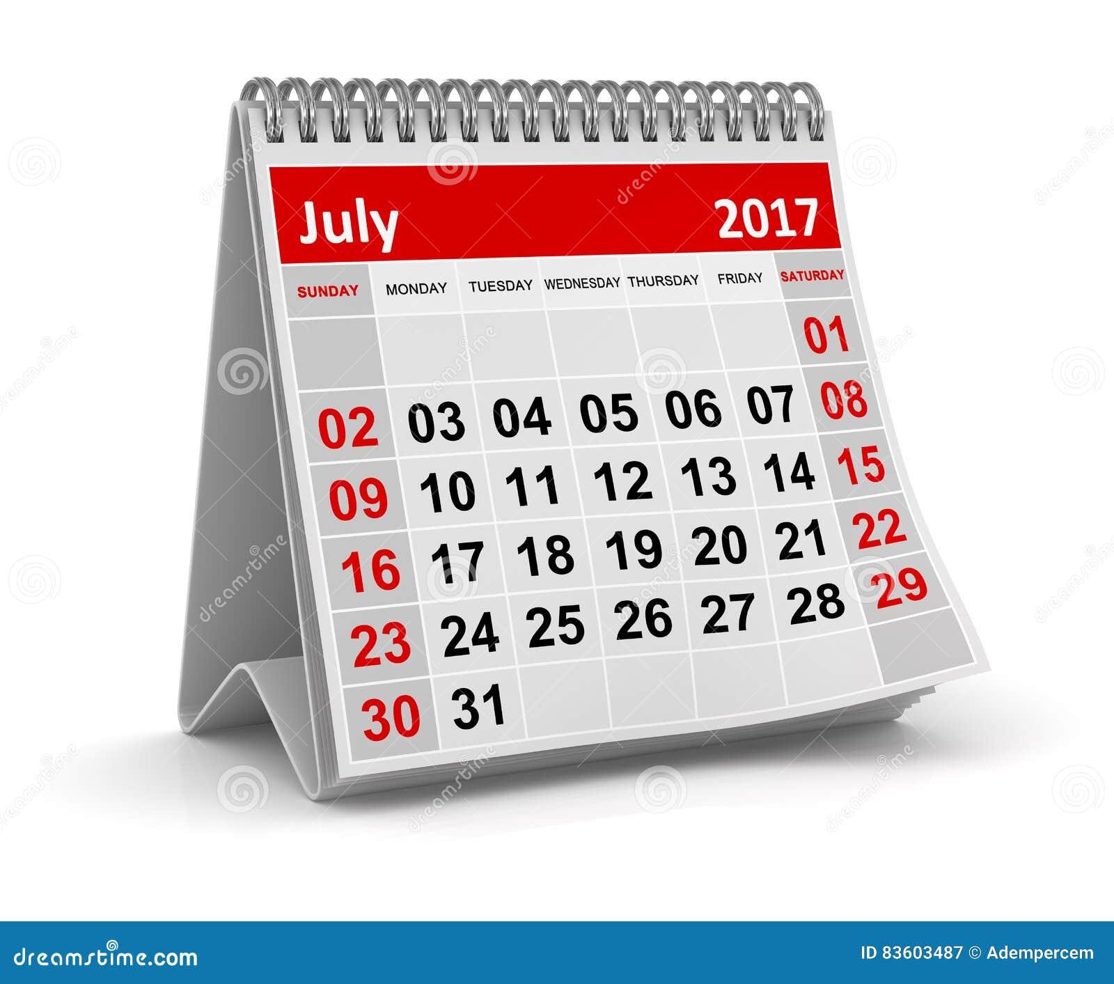 Calendario 31 Luglio.Calendario Luglio 2017 Illustrazione Di Stock