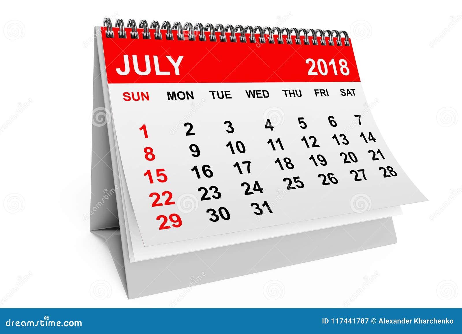 Calendario Di Luglio.Calendario Luglio 2018 Rappresentazione 3d Illustrazione Di