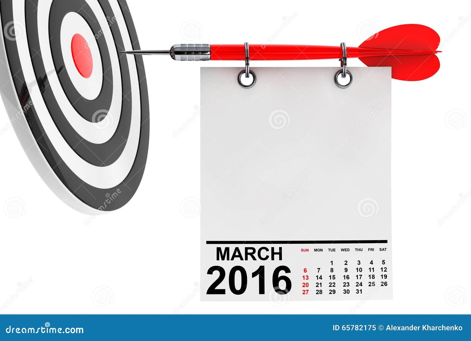 Calendario marzo de 2016 con la blanco