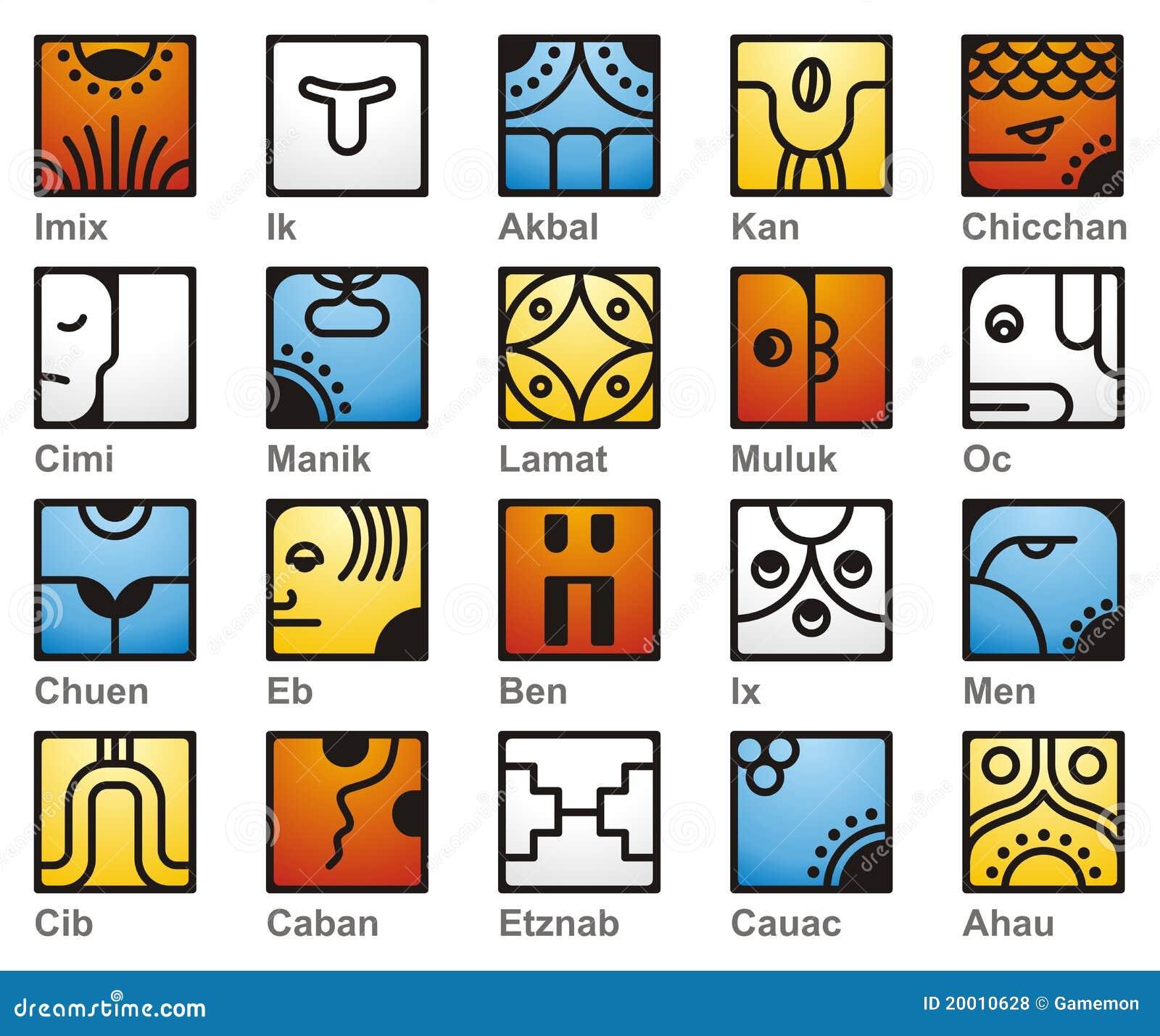 Calendario Solar Maya.Calendario Maya 20 Seales Solar Ilustracion Del Vector