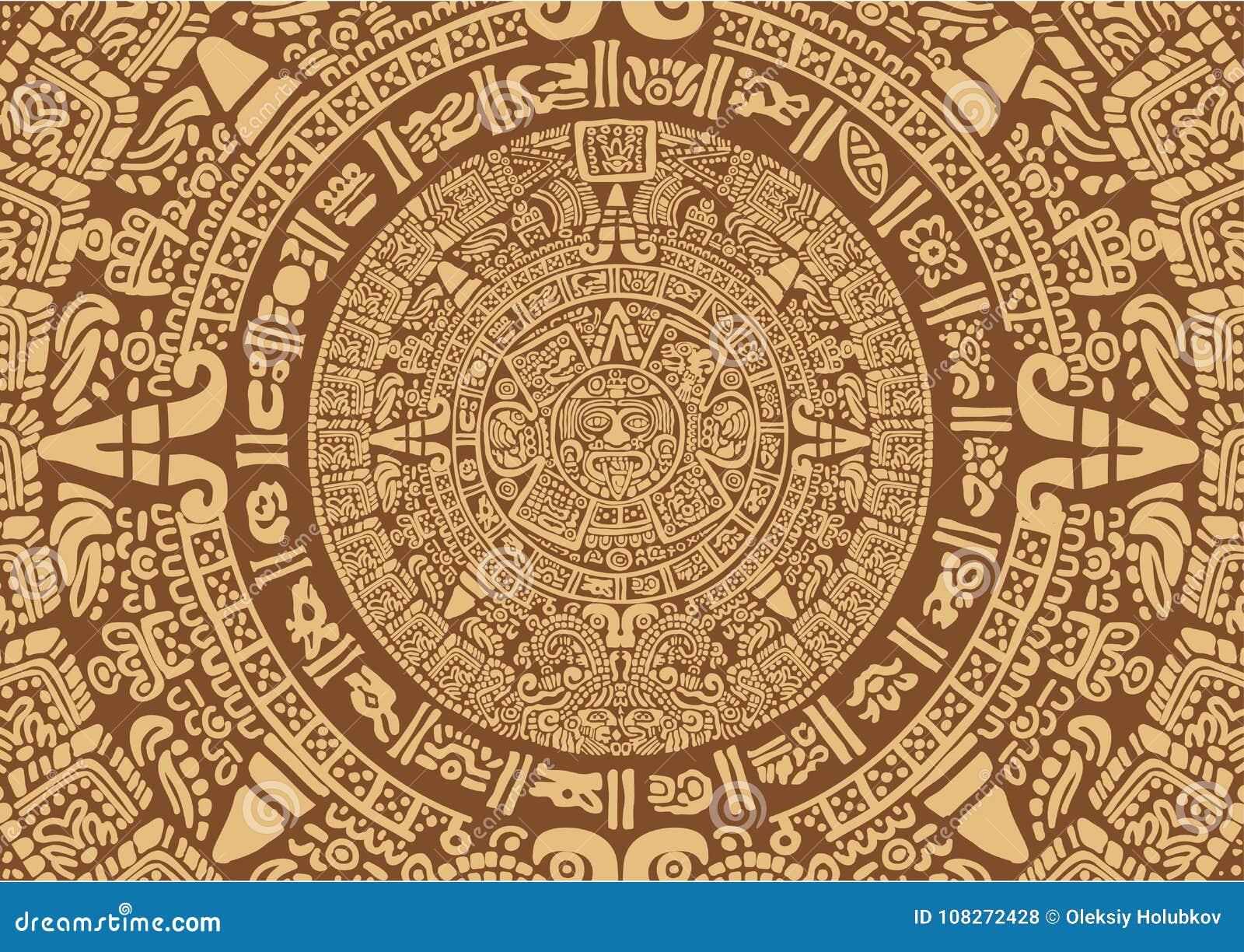 Calendario Dei Maya.Calendario Mayan Antico Illustrazione Vettoriale