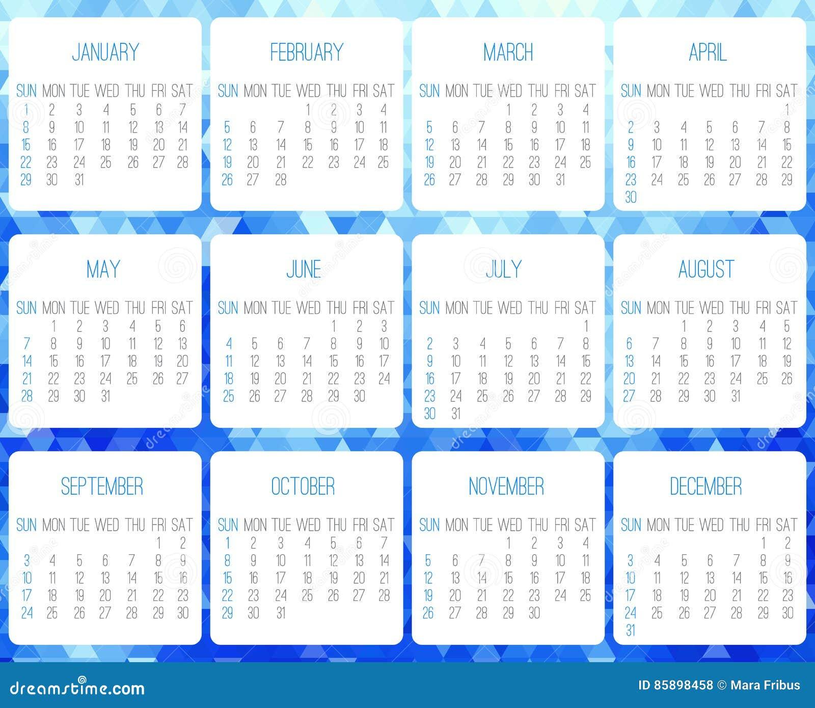 Calendario Anno 2017.Calendario Mensile Di Anno 2017 Illustrazione Vettoriale