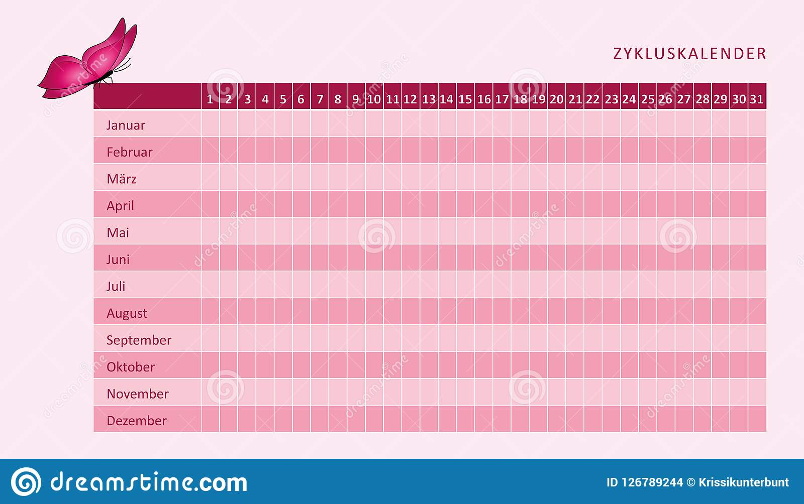 Calendario Del Ciclo Mestruale.Calendario Mensile Di Mestruazione Del Ciclo Mestruale Con