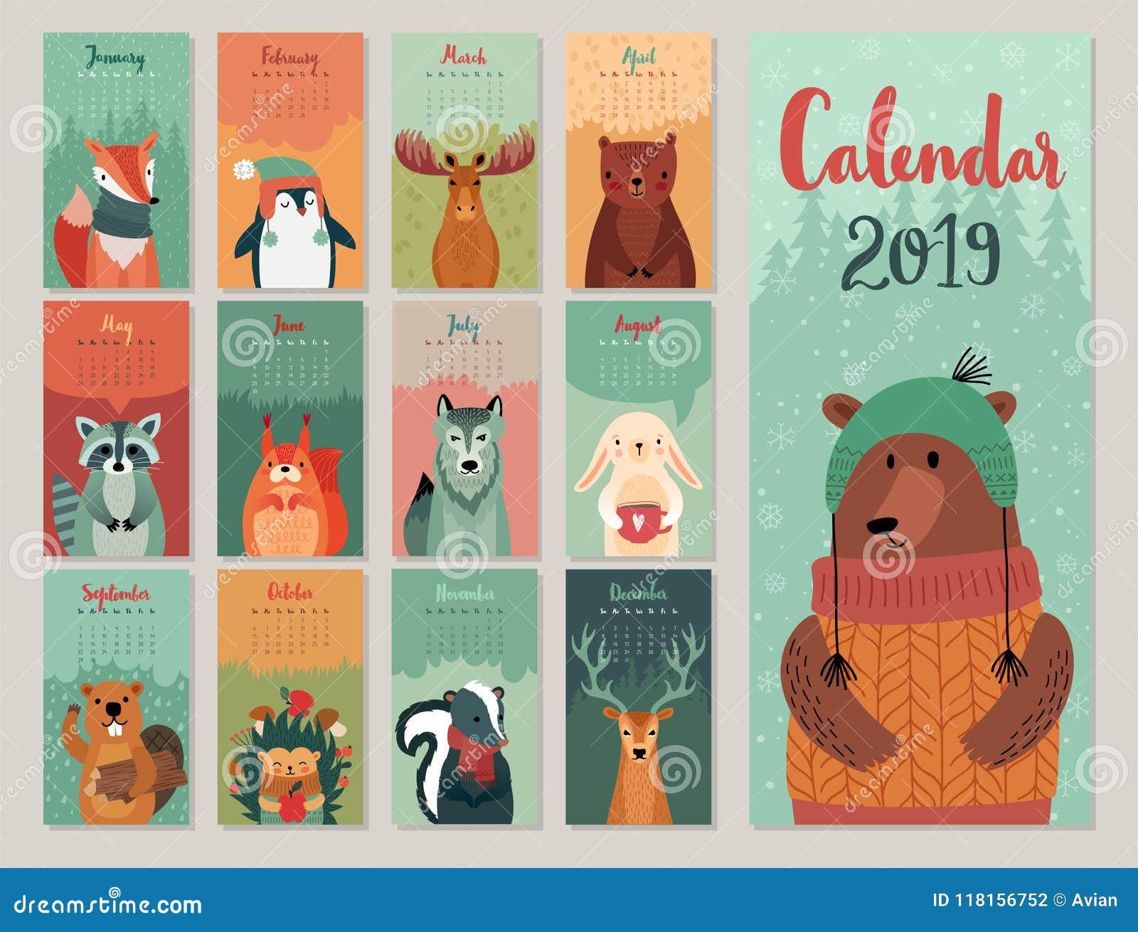 Calendario 2019 Calendario mensile sveglio con gli animali della foresta Caratteri disegnati a mano di stile