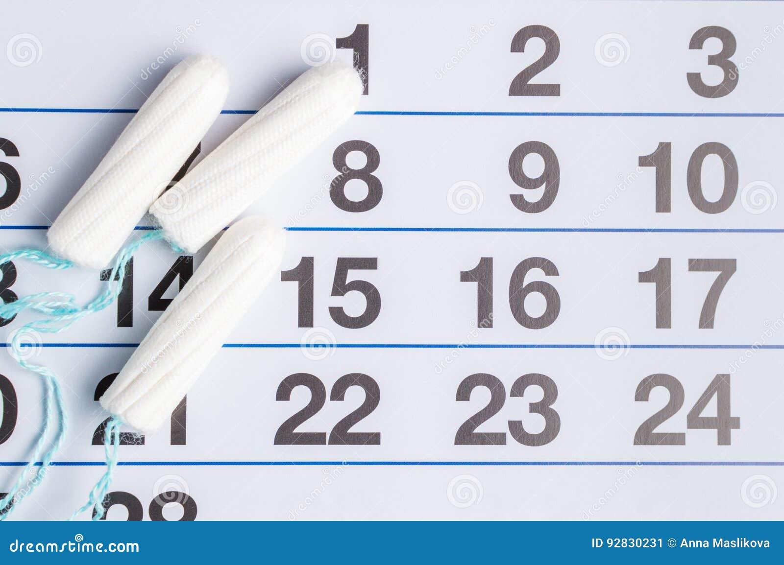 Calendario Menstrual Con Los Tapones Y Los Cojines Ciclo De La ...