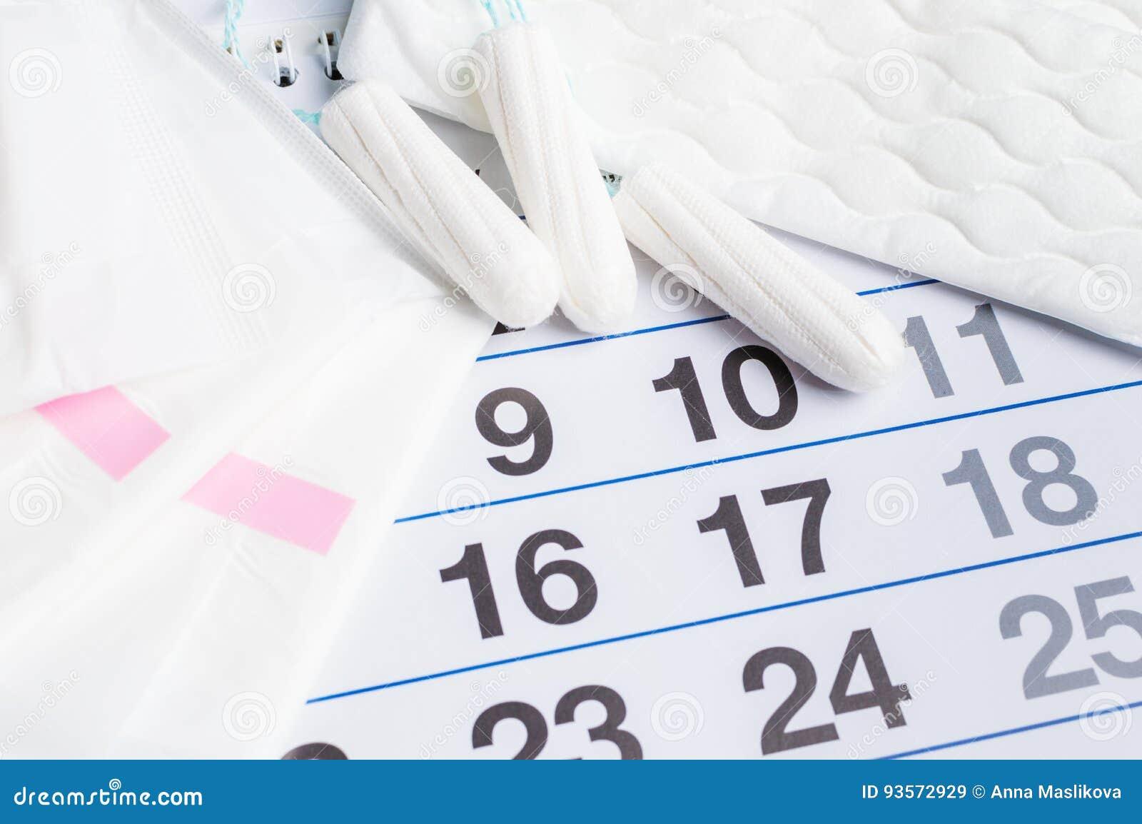 Calendario Menstrual Con Los Tapones Y Los Cojines Tiempo De La ...