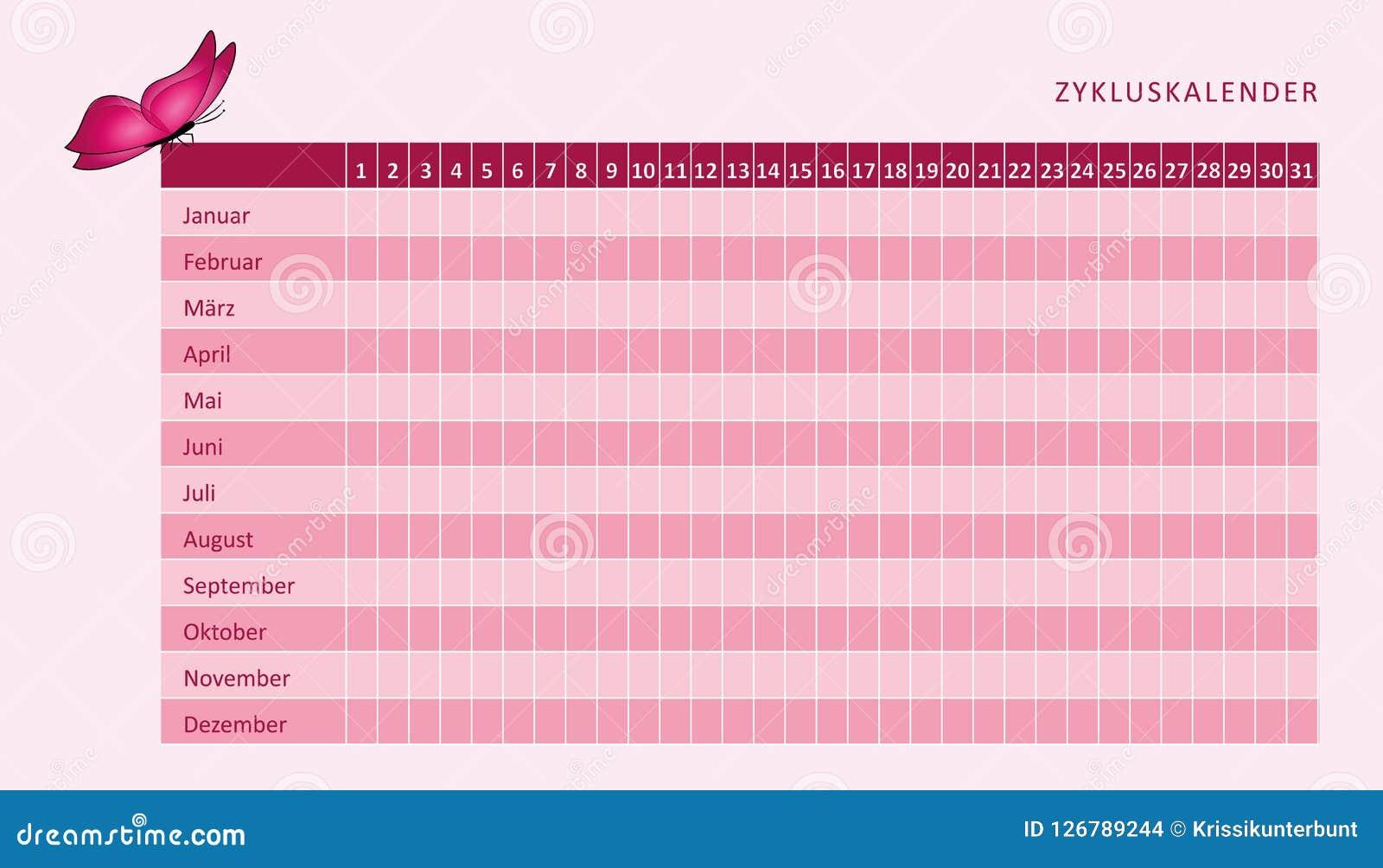 Calendario De Periodo Menstrual.Calendario Mensual De La Menstruacion Del Ciclo Menstrual