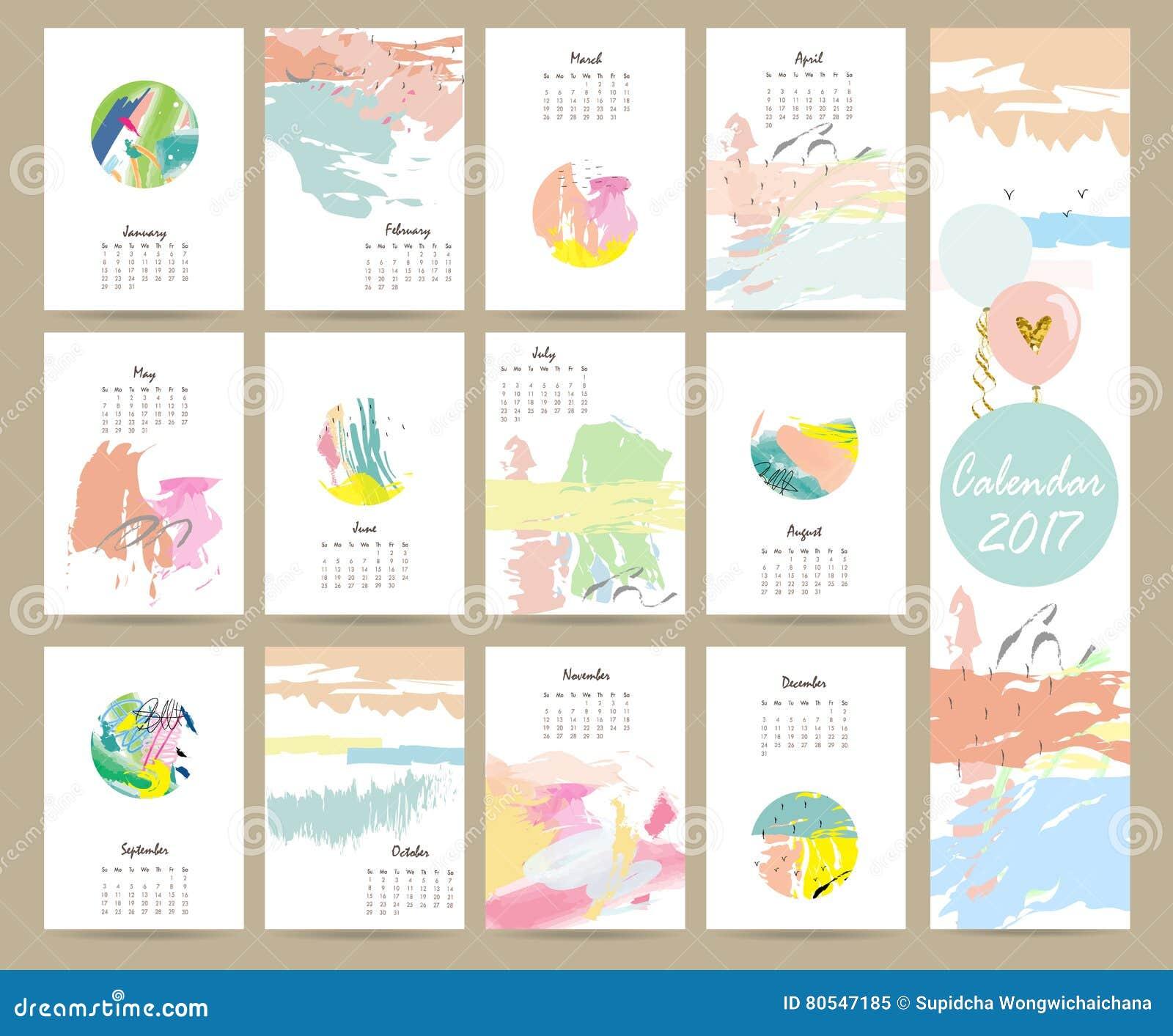 Calendario Mensual Lindo Colorido 2017 Con Color Rosado, Azul, Verde ...
