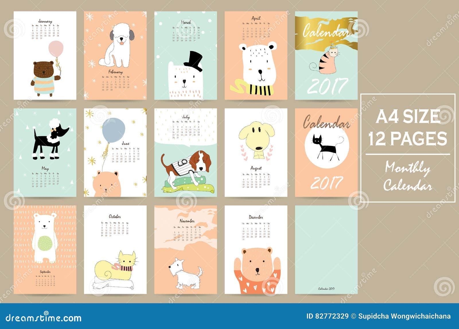 Calendario Mensual Lindo Colorido 2017 Con El Gato, El Perro, El Oso ...
