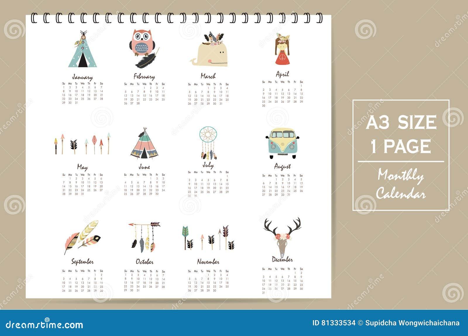 Calendario Mensual Lindo Colorido 2017 Con La Tienda, Ballena, Pluma ...