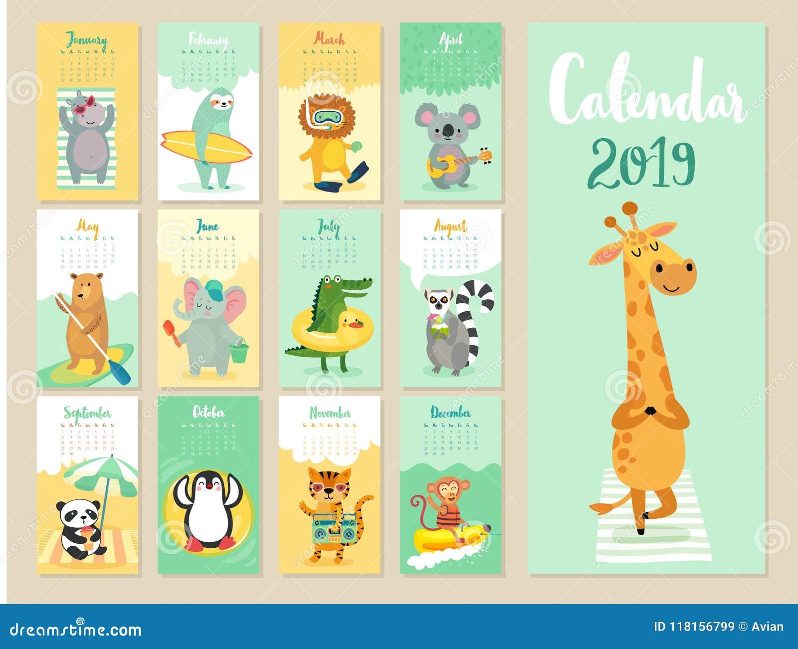 Calendario Bosque Magico 2019.Calendario 2019 Calendario Mensual Lindo Con Los Animales