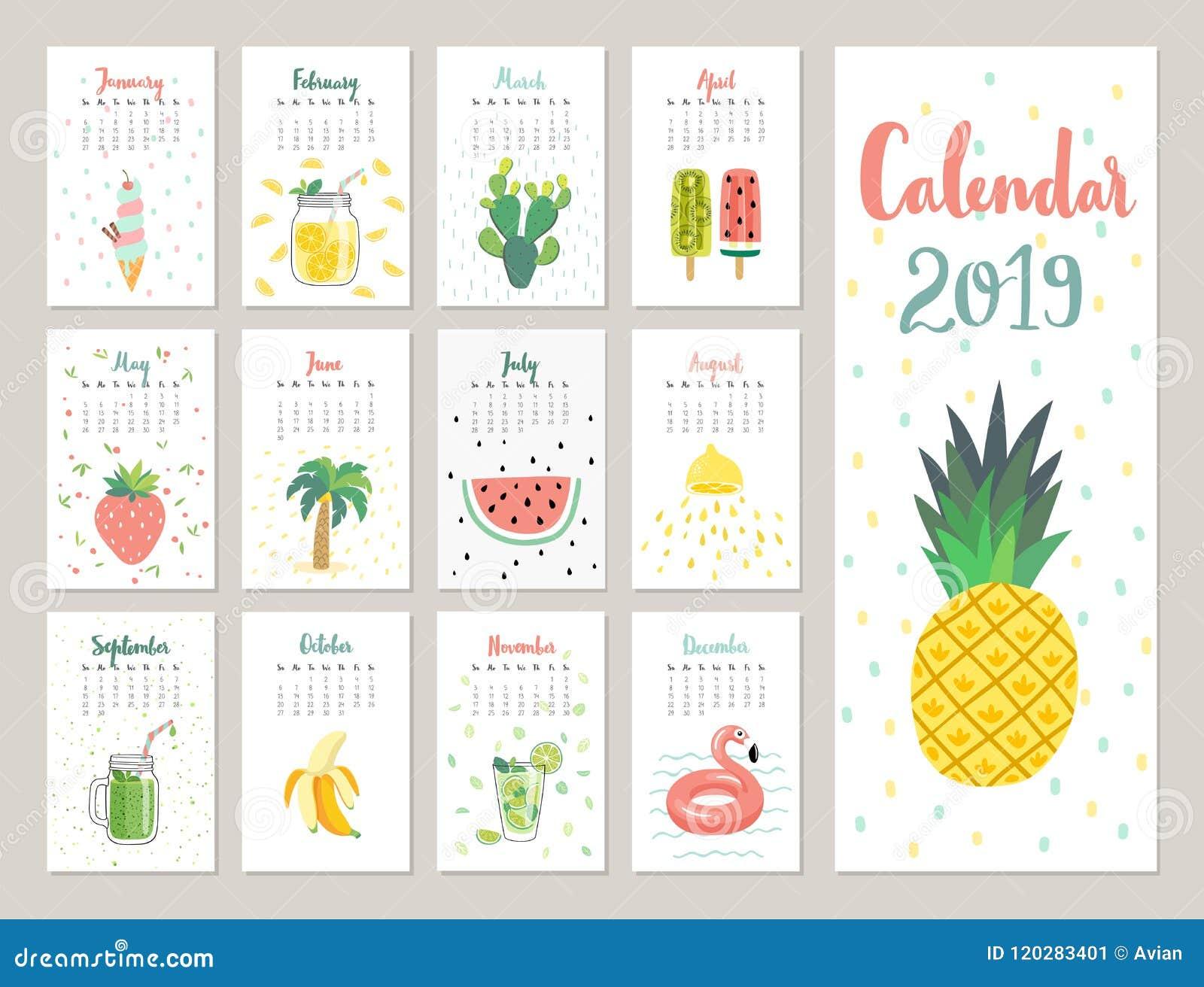 Calendario 2019 Calendario Mensual Lindo Con Los Objetos ...