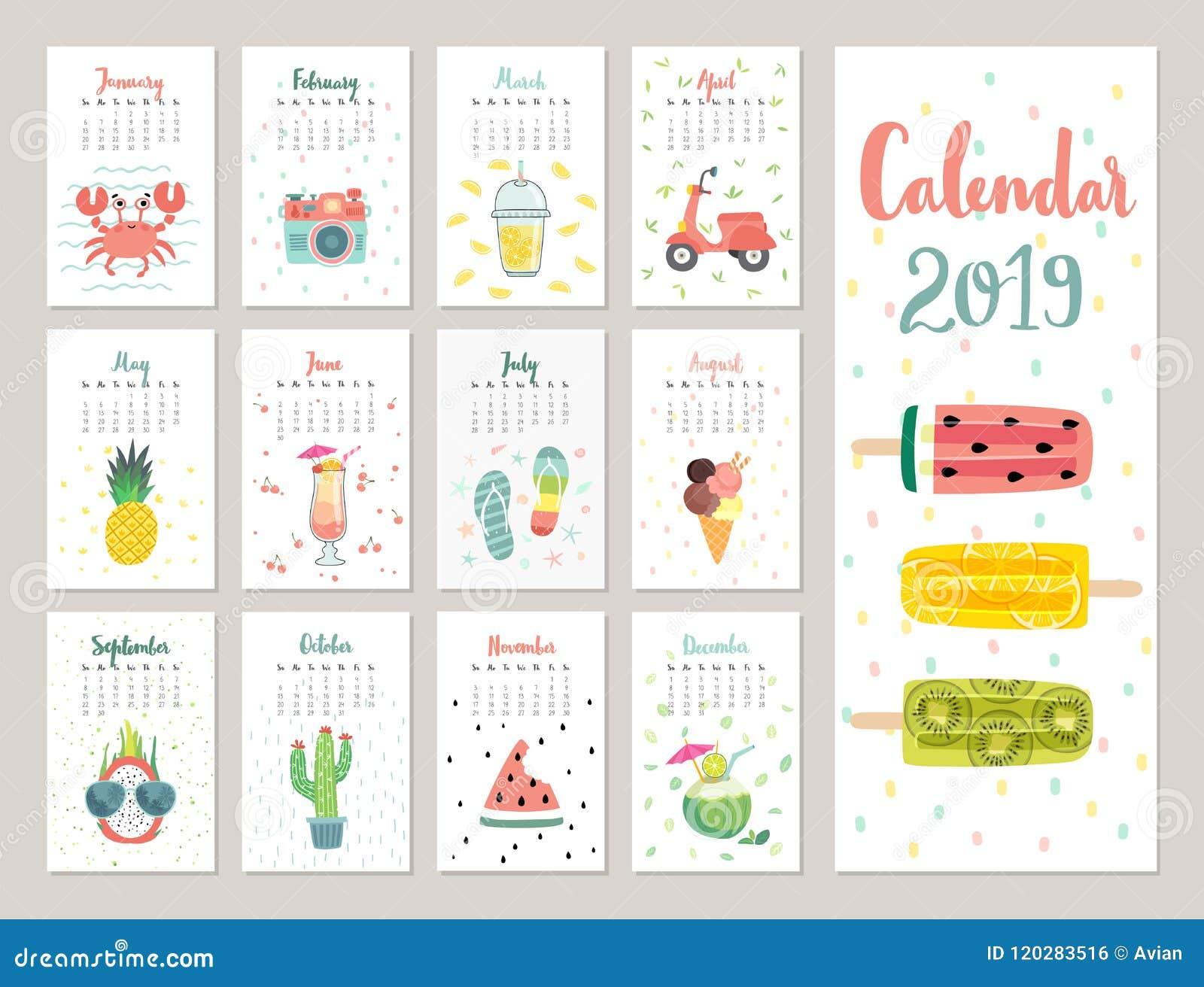 calendario 2019 calendario mensual lindo con los objetos