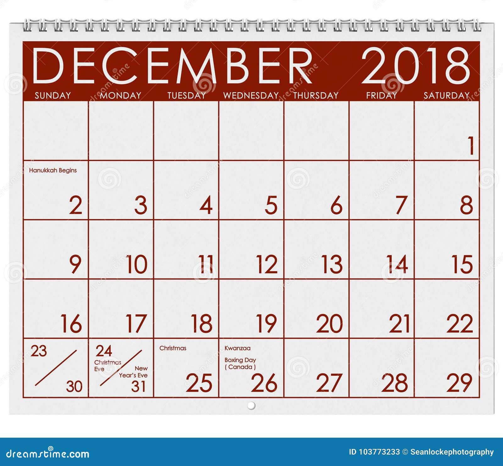 Calendario Diciembre.Calendario 2018 Mes De Diciembre Con La Navidad Stock De