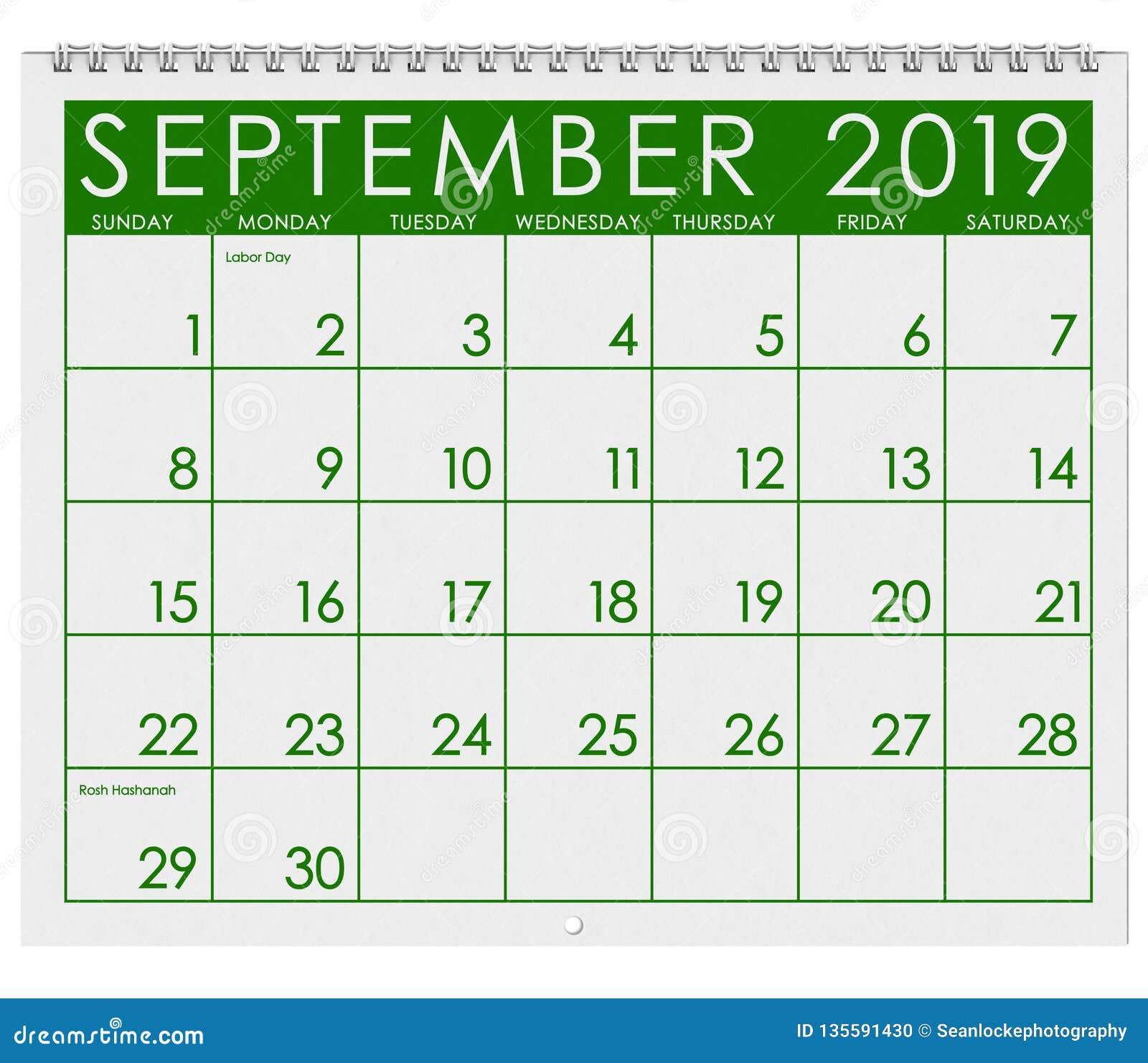 Calendario 2019 Julio Agosto Y Septiembre.2019 Calendario Mes De Septiembre Stock De Ilustracion