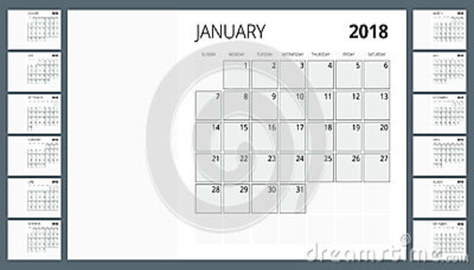 Calendario 2018 Modello della stampa La settimana comincia domenica Orientamento del ritratto Un insieme di 12 mesi Pianificatore