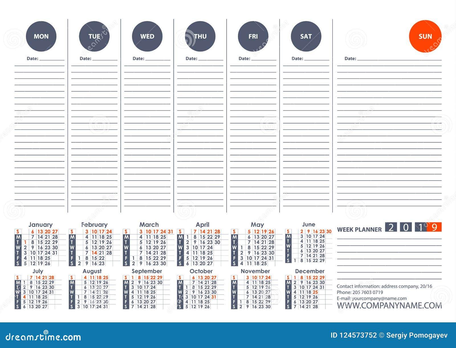 Settimane Calendario.Calendario Modello Di Progettazione Di Vettore Del