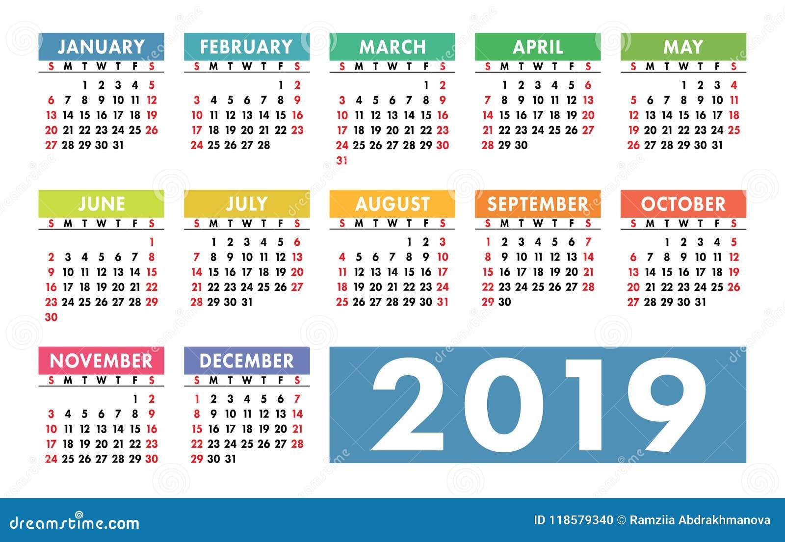 Calendario Del 2019.Calendario 2019 Modelo Del Vector Calendario Ingles Sistema Colorido