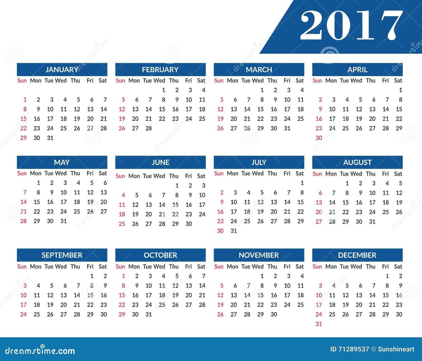 Calendario Anno 2017.Calendario Murale Mensile Per L Anno 2017 Illustrazione