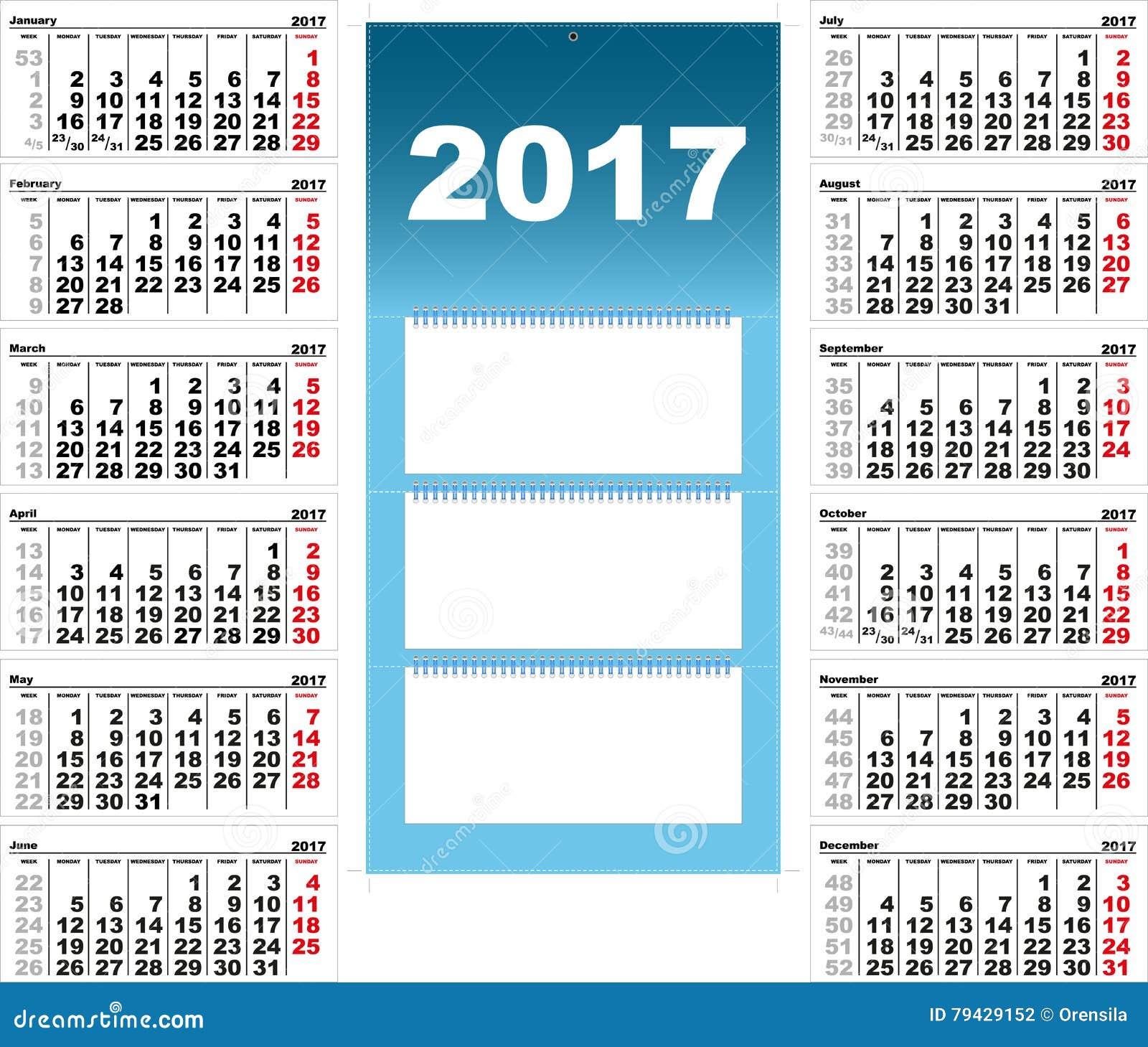 Calendario Trimestrali.Calendario Murale Trimestrale Per 2017 Illustrazione