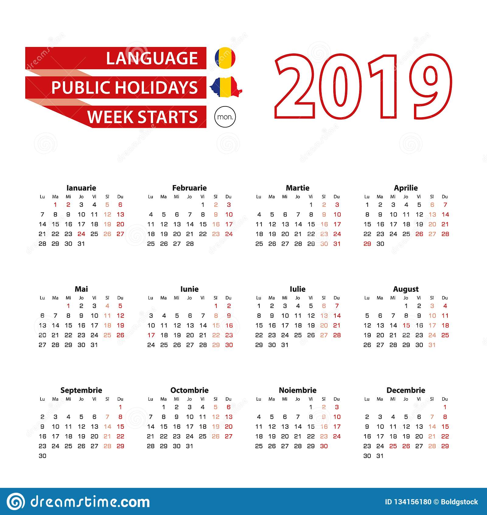 Calendario Nazionali.Calendario 2019 Nella Lingua Rumena Con Le Feste Nazionali
