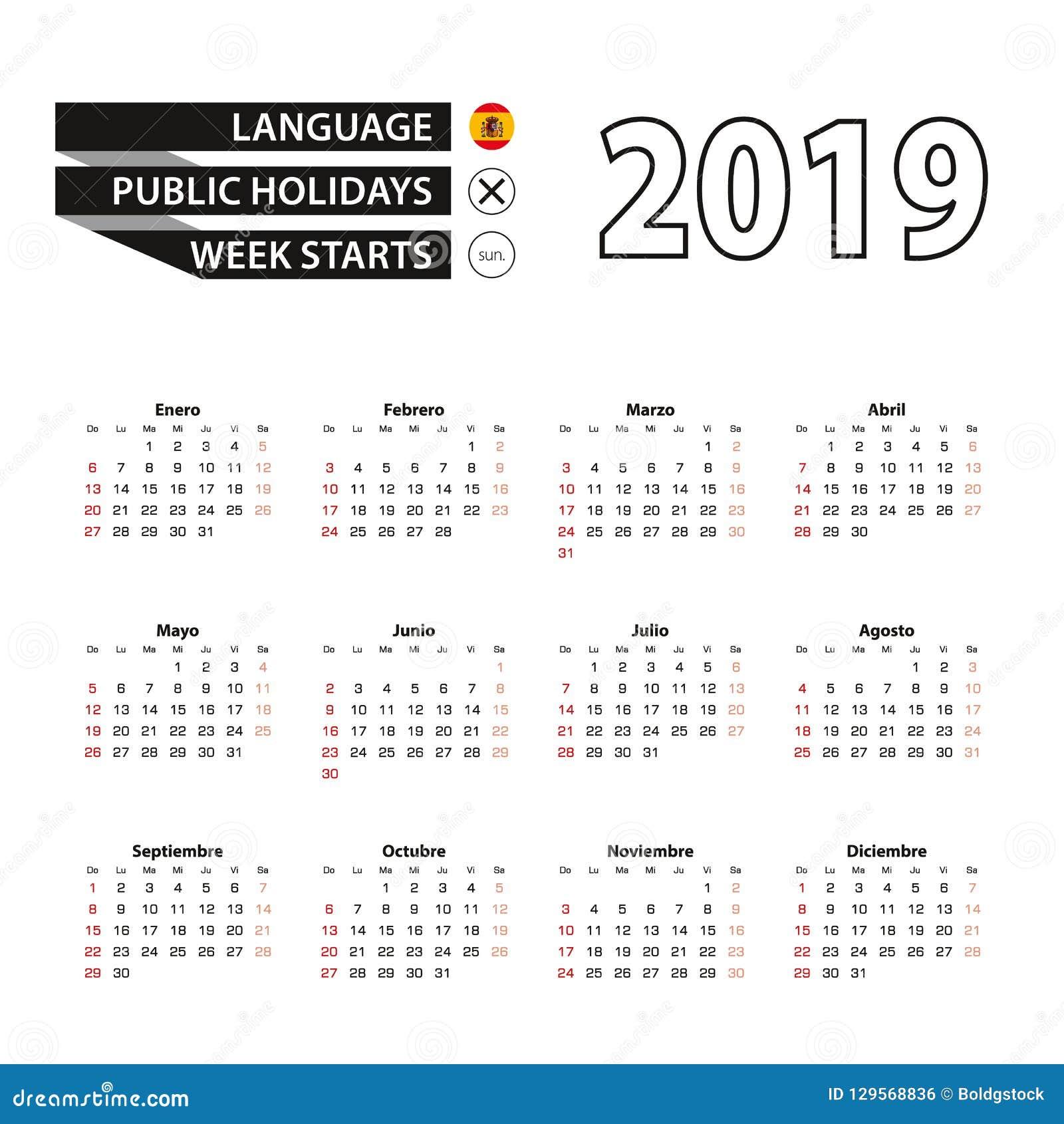 Calendario 2019 Con Numero Di Settimana.Calendario 2019 Nella Lingua Spagnola Inizio Di Settimana A