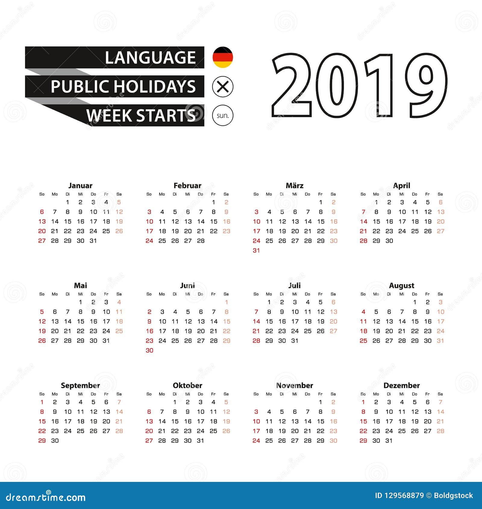 Calendario Numero Settimana 2019.Calendario 2019 Nella Lingua Tedesca Inizio Di Settimana A
