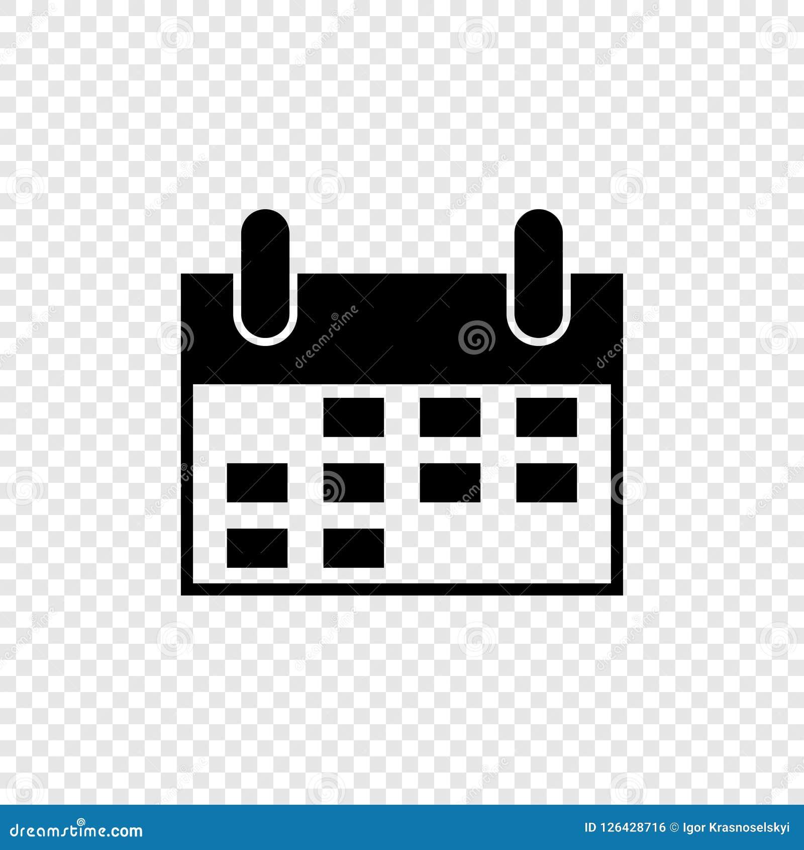 Calendario Icona.Calendario Nero Nello Stile Piano Su Fondo Trasparente Icona