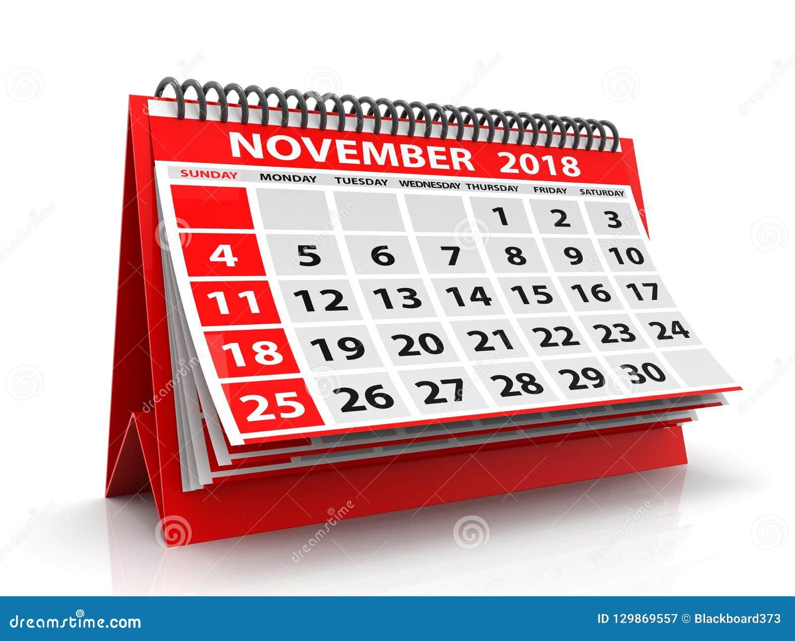 Calendario novembre 2018 a spirale Novembre 2018 calendario nel fondo bianco illustrazione 3D