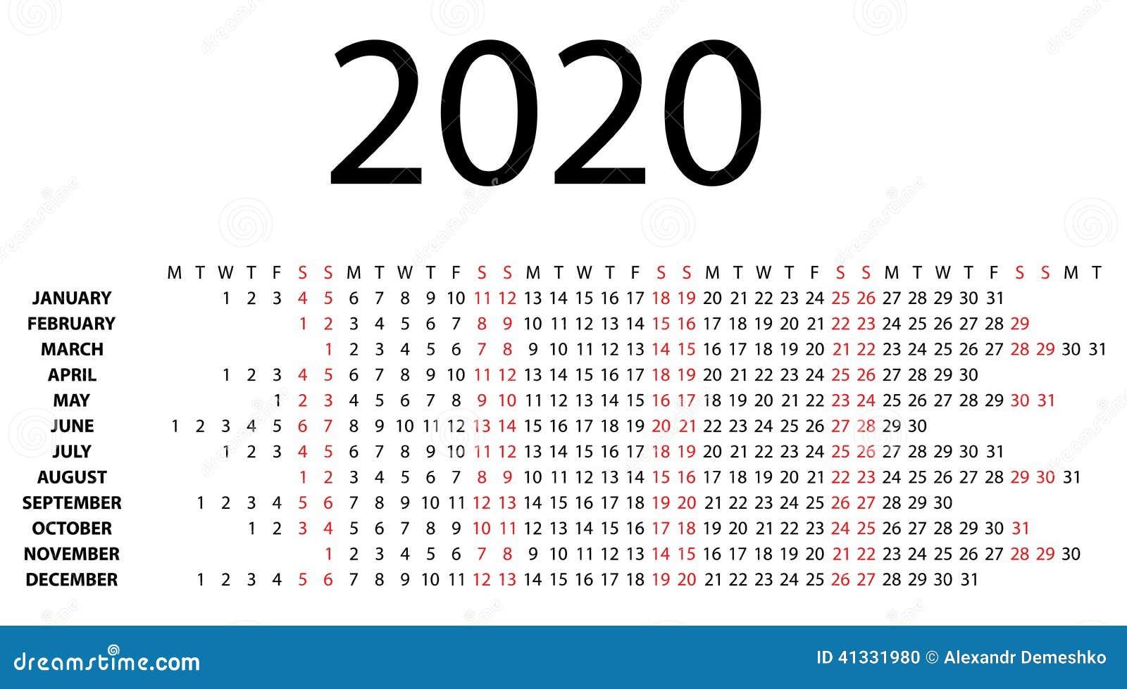 Calendario 2020 Orizzontale.Calendario Orizzontale Per 2020 Su Bianco Illustrazione