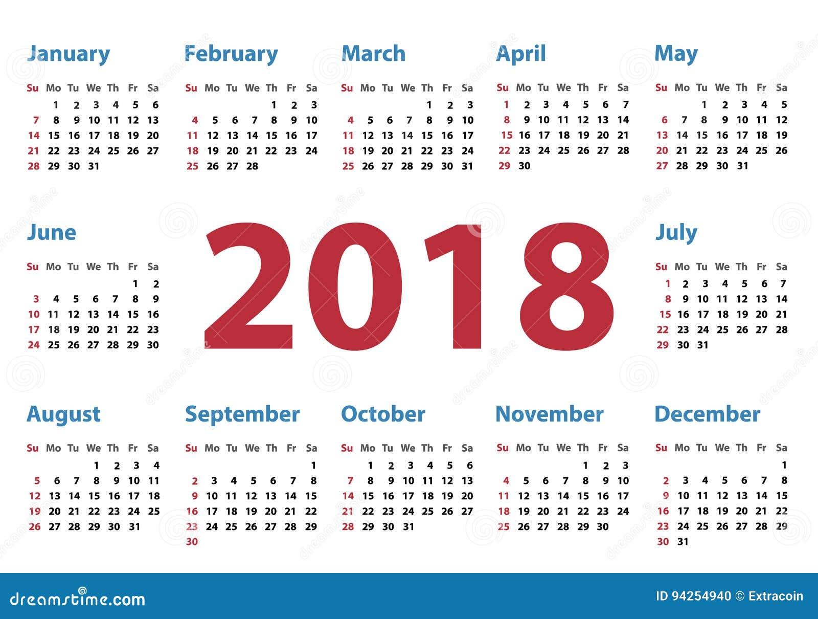 calendario para 2018 comienzos domingo diseño del calendario del