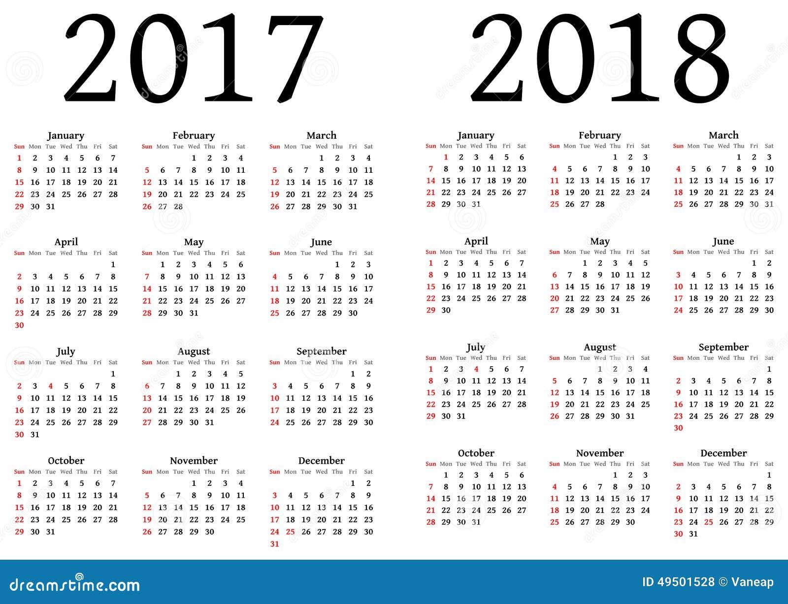 Calendario para 2017 y 2018 ilustraci n del vector for Almanaque de pared 2018