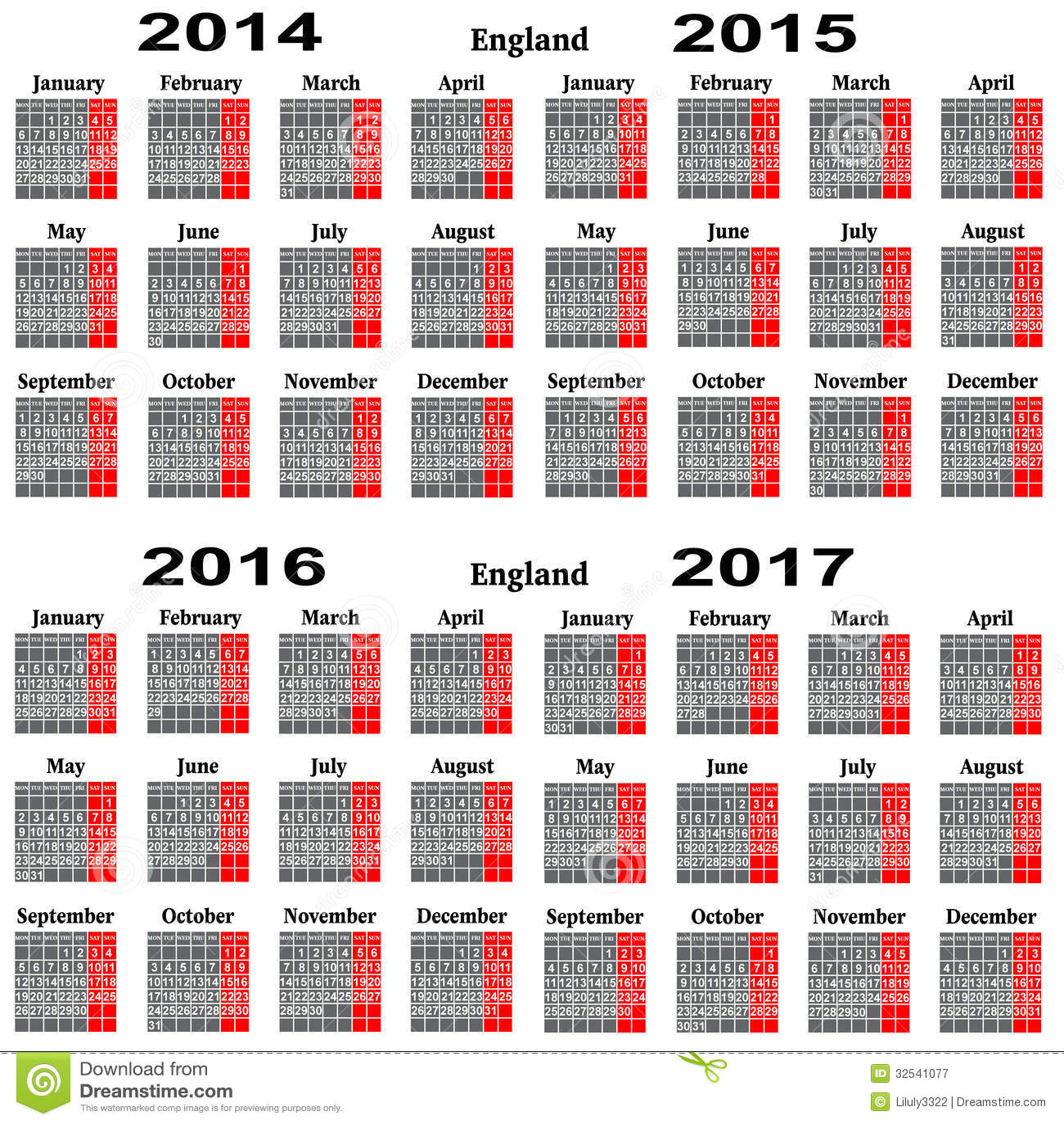 Calendario Anno 2015 Mensile.Calendario Per 2014 2015 2016 2017 Anni Illustrazione Di