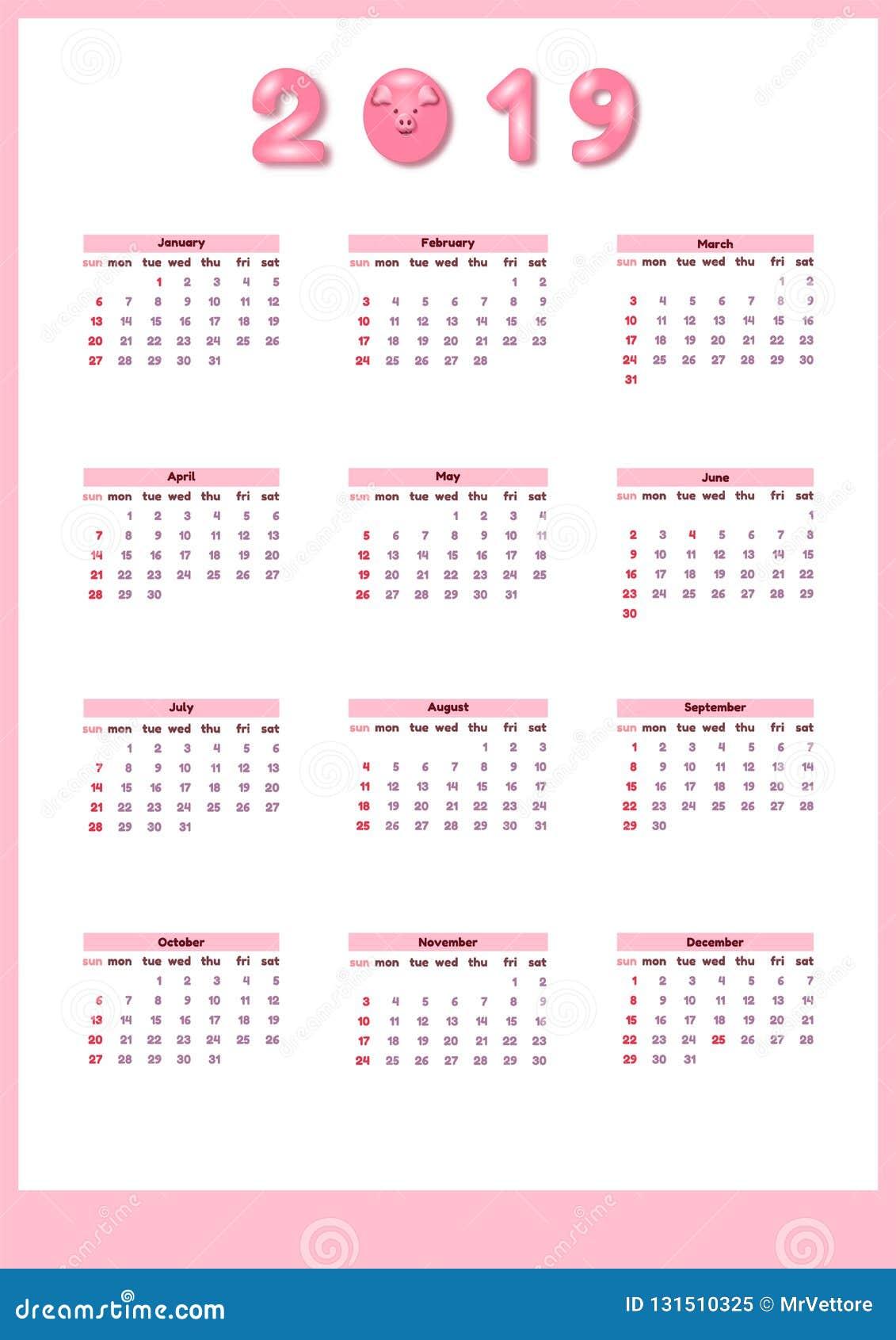 Calendario 2020 Editabile.Calendario Per 2019 Con Il Maiale Rosa Sveglio Di Colore