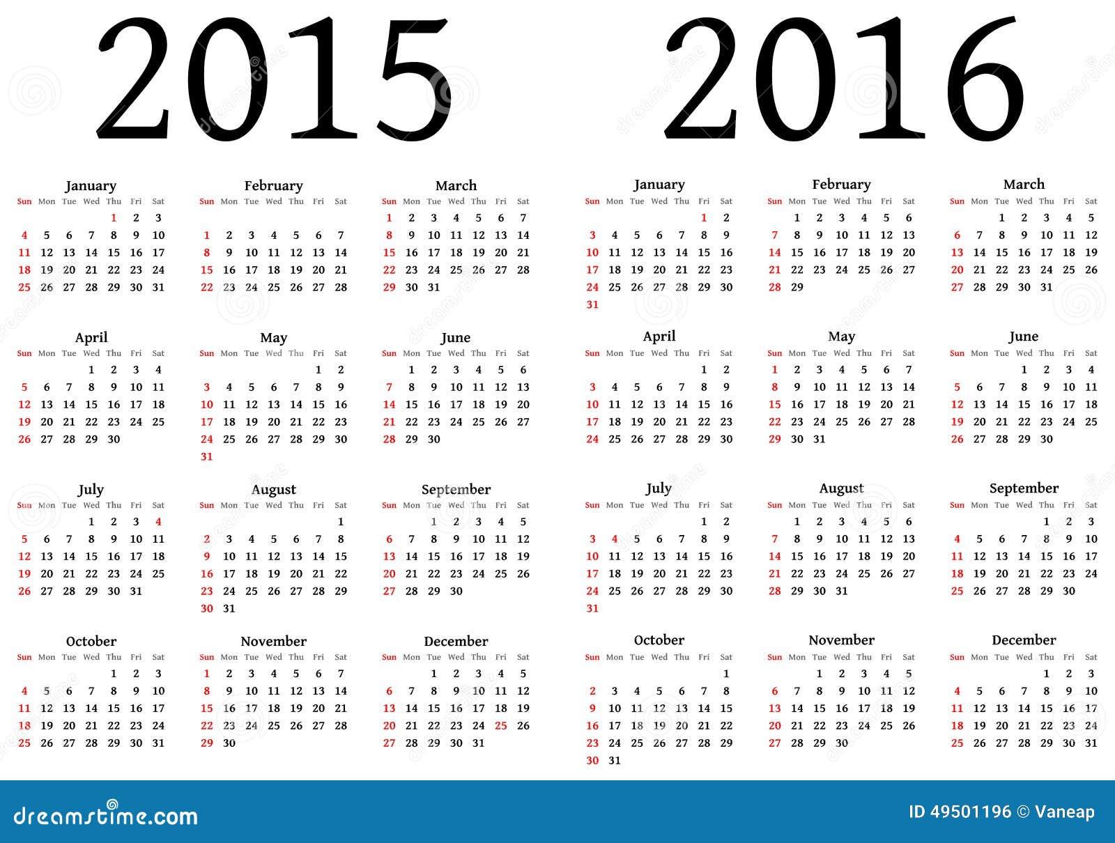 Calendario per 2015 e 2016