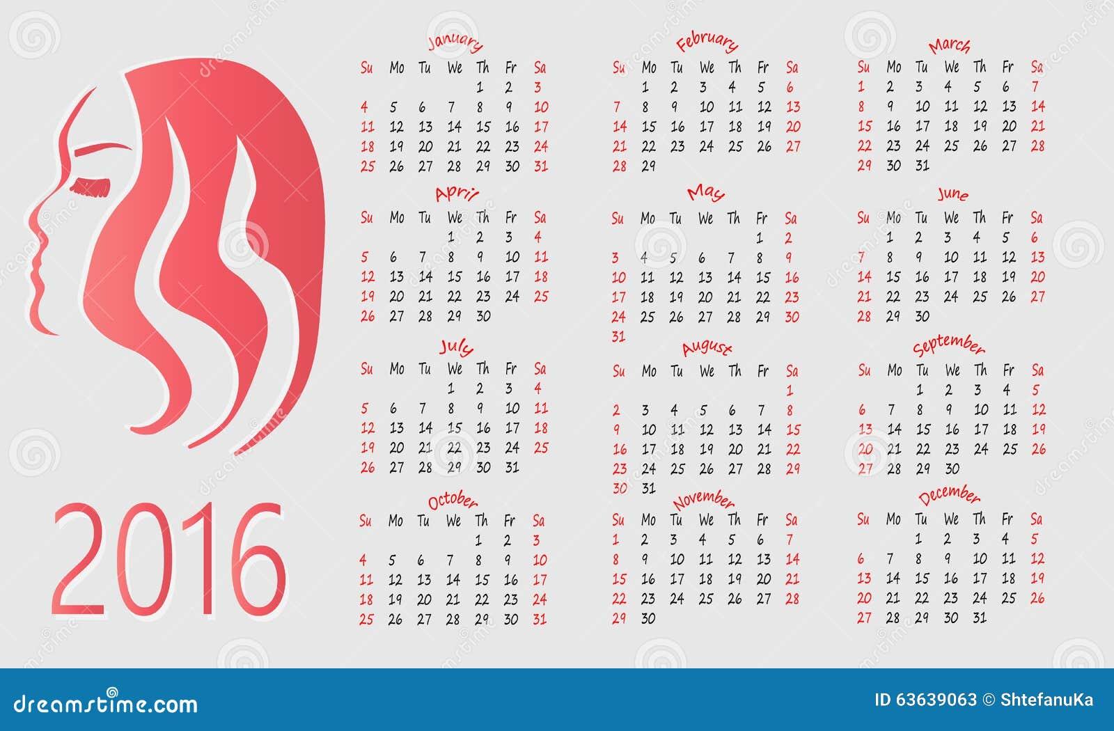 Calendario Bellezza.Calendario 2016 Per I Saloni Di Bellezza Illustrazione