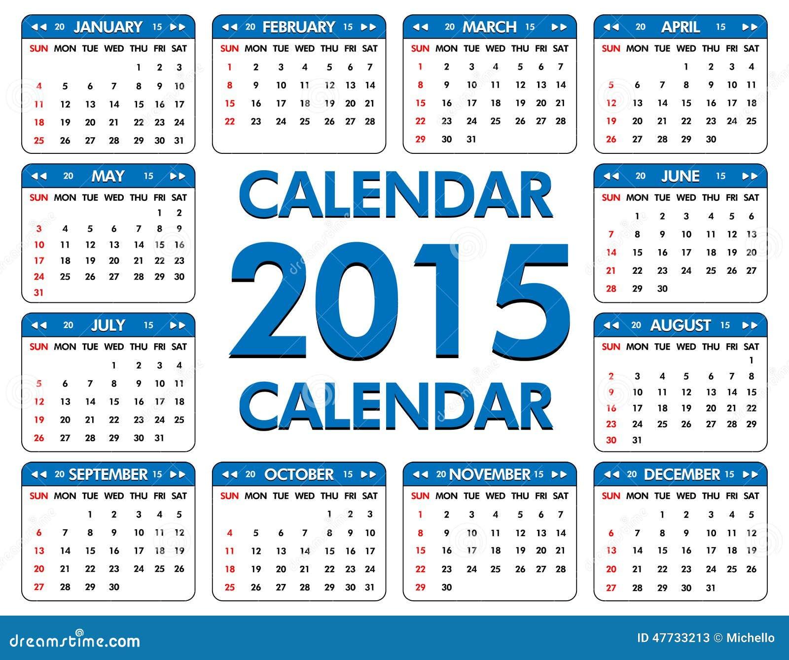 Calendario Anno 2015.Calendario Per L Anno Di 2015 Illustrazione Vettoriale