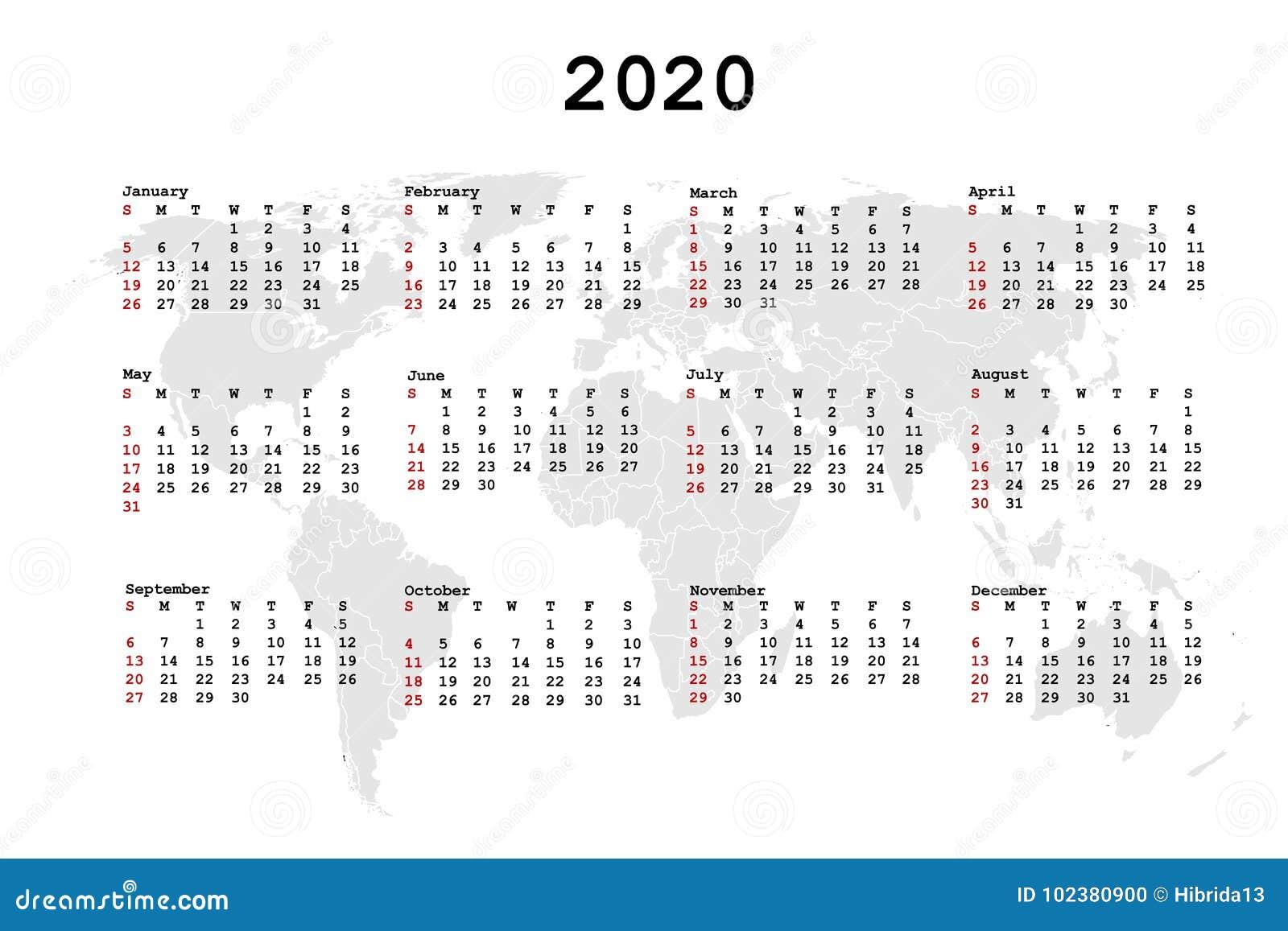 Dicembre Calendario 2020.Calendario 2020 Per L Ordine Del Giorno Con La Mappa Di