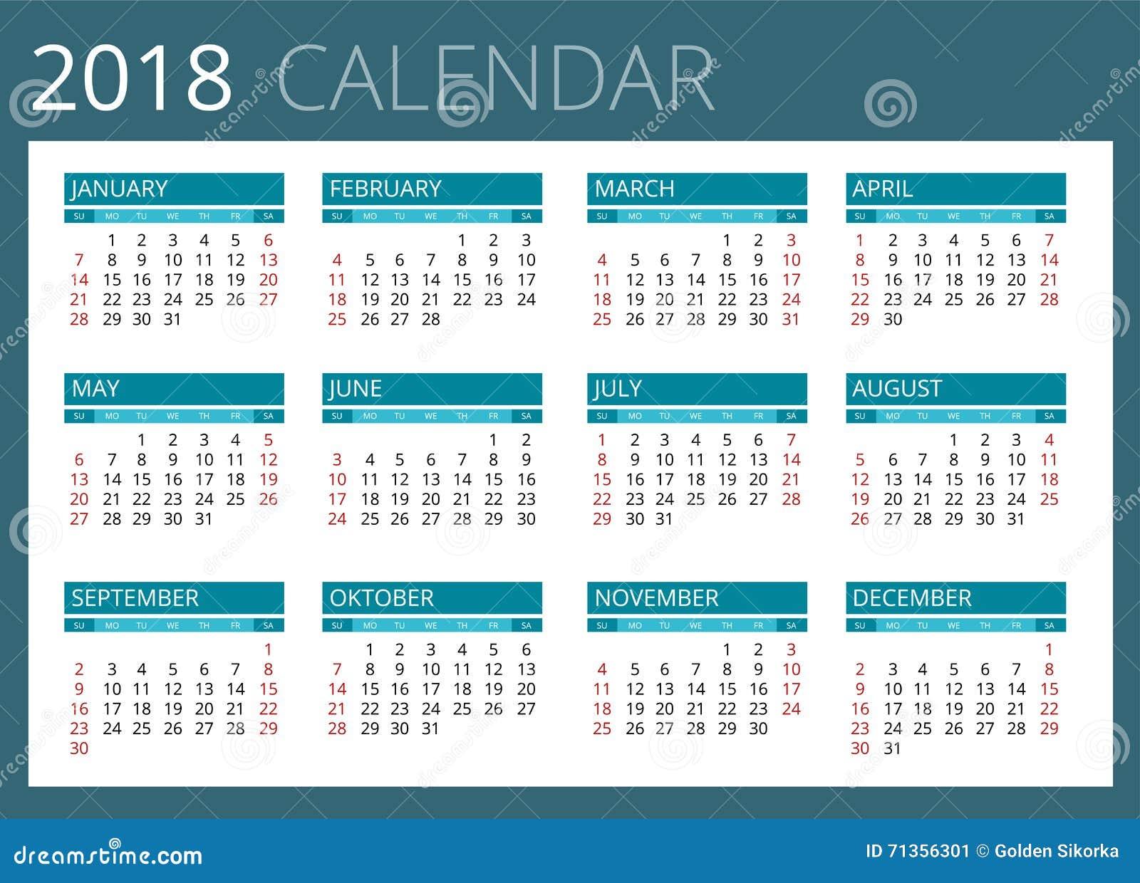 Calendario per 2018 La settimana comincia domenica Progettazione semplice di vettore