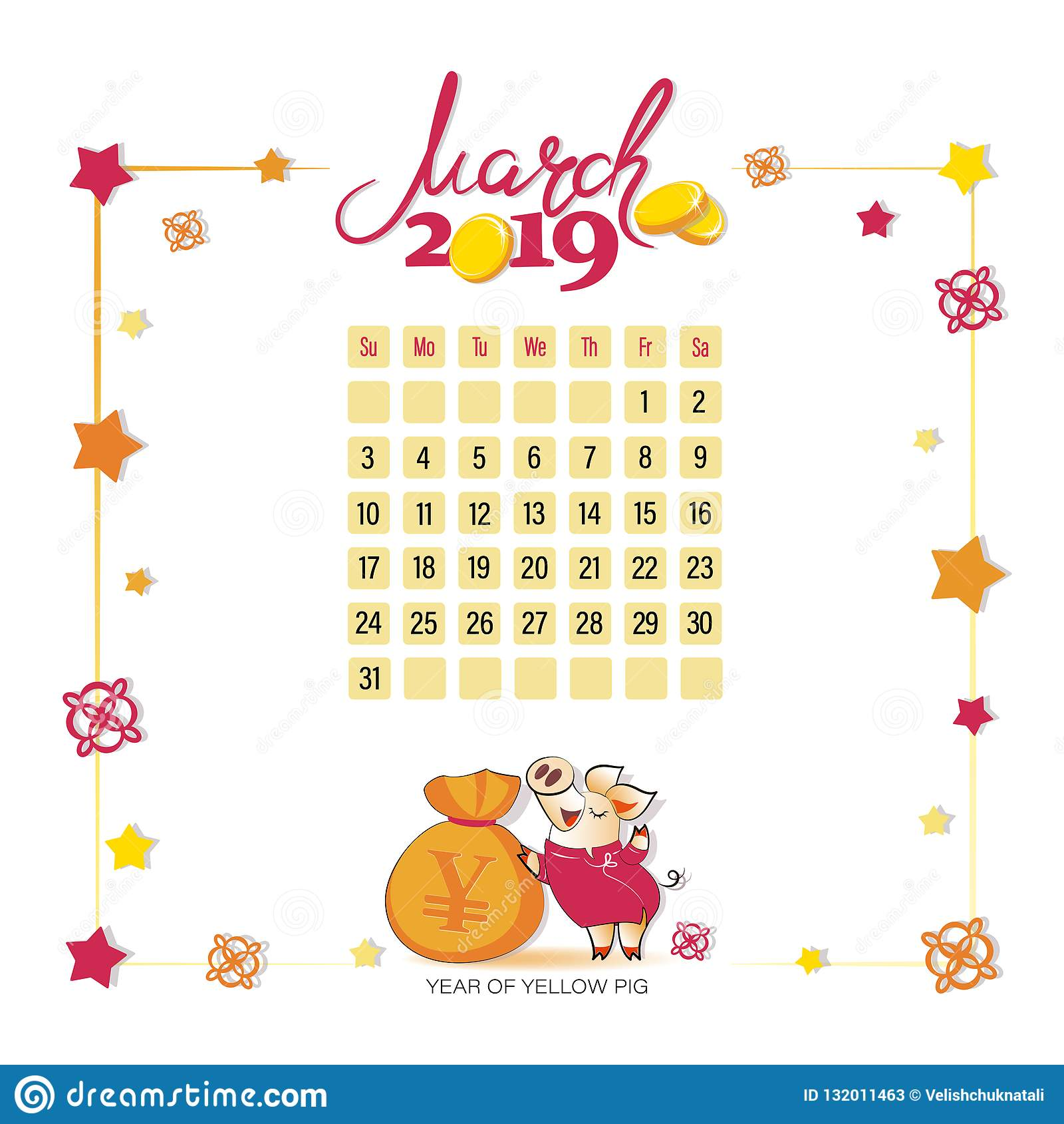 Calendario Di Borsa.Calendario 2019 Per Marzo Maiale Giallo Con Una Borsa Di