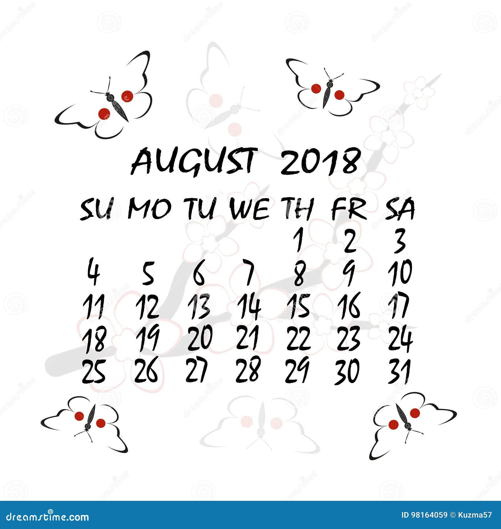 Calendario Giapponese Animali.Calendario Per 2018 Stile Giapponese Il Mese Di Agosto