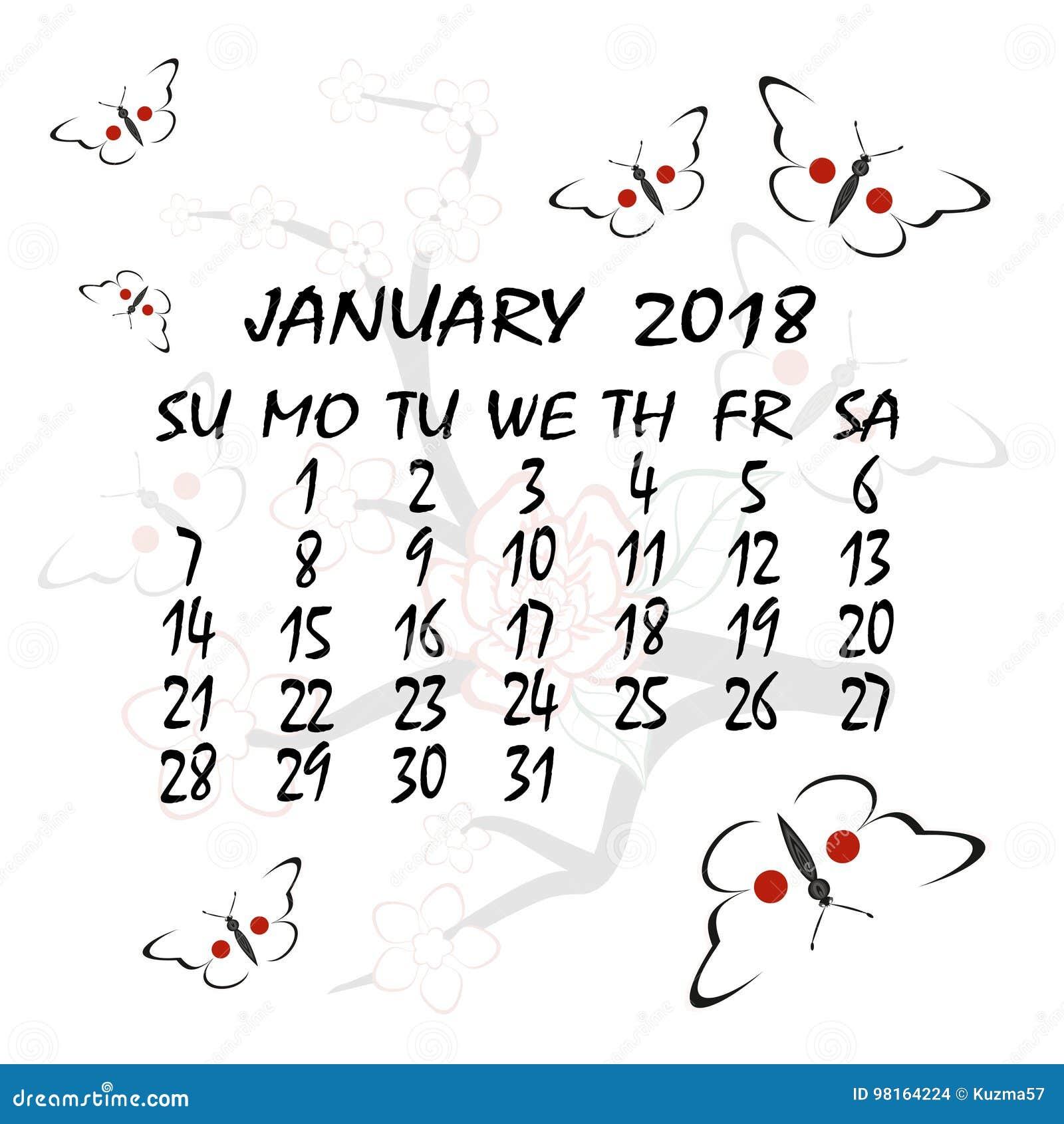 Calendario Giapponese Animali.Calendario Per 2018 Stile Giapponese Il Mese Di Gennaio