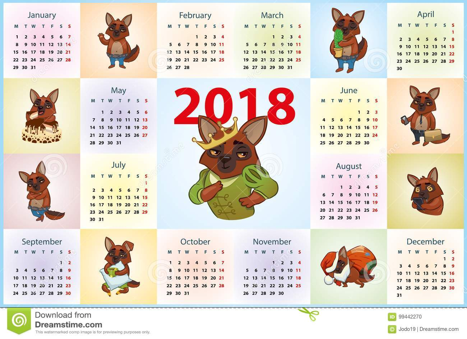 navidad 2018 calendario Calendario 2018 Perros En Diversos Modos Ilustración del Vector  navidad 2018 calendario