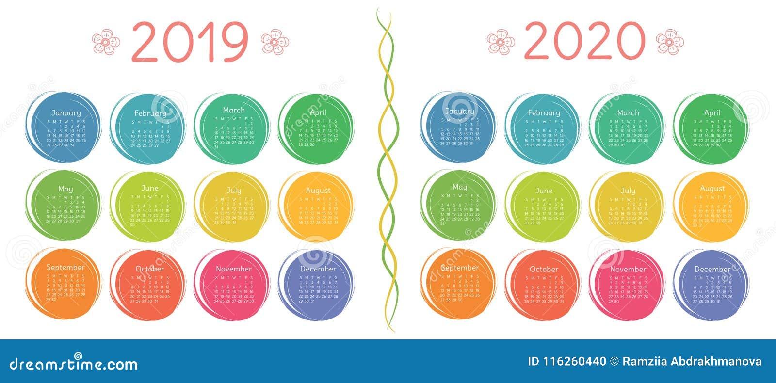 Calendario 2019, Plantilla De 2020 Diseños Color, Niños, Divertidos ...