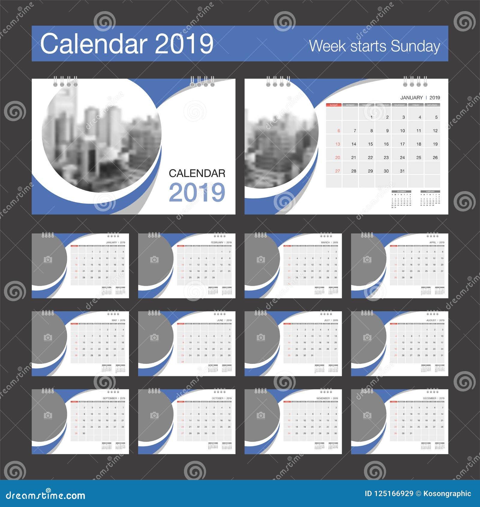 Calendario F.Calendario 2019 Plantilla Del Diseno Moderno Del Calendario