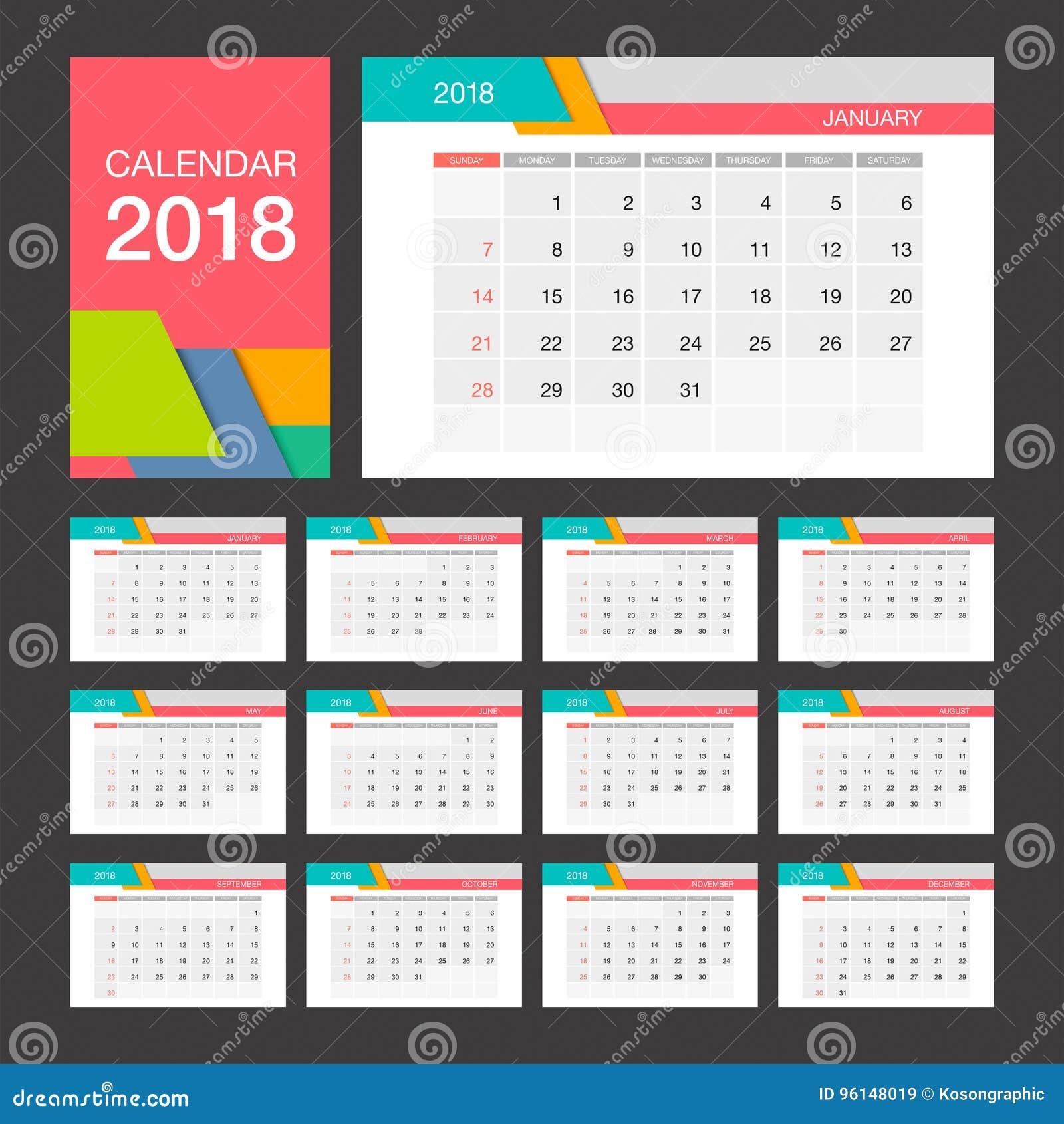 Calendario 2018 plantilla del dise o moderno del calendario de escritorio ilustraci n del vector - Plantilla calendario de mesa ...