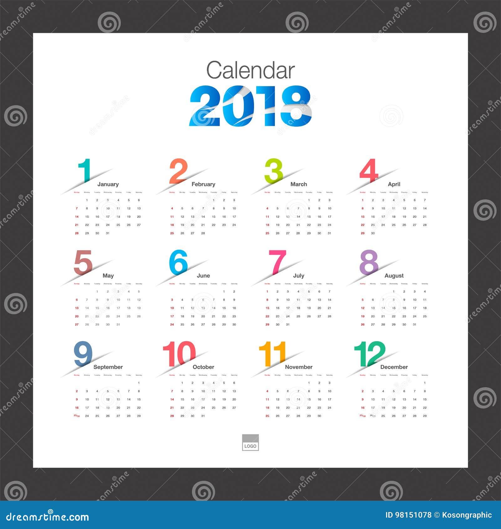 calendario 2018 plantilla del diseño moderno del calendario de