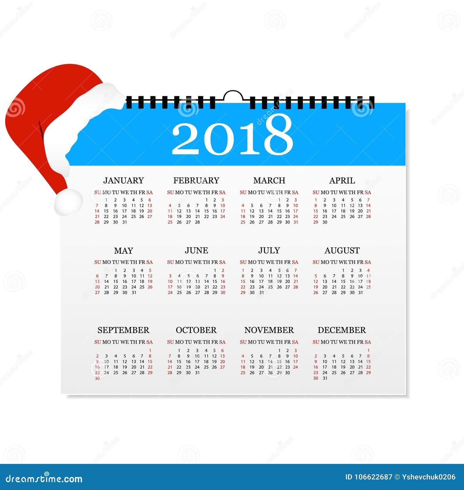 Calendario 2018 Plantilla Simple Del Calendario Por El Año 2018 ...