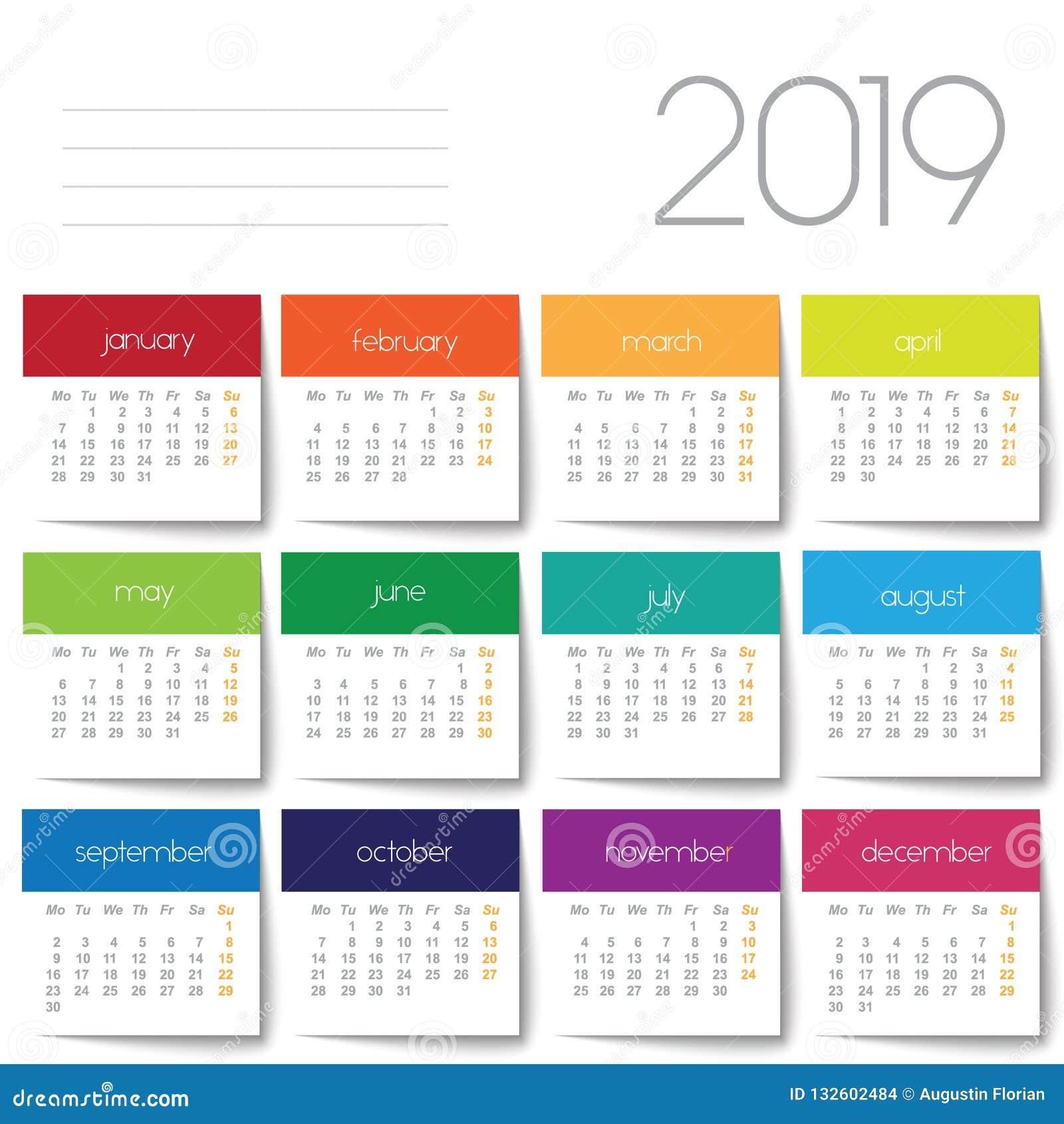 Calendario It.Calendario 2019 Post It Del Color Ilustracion Del Vector