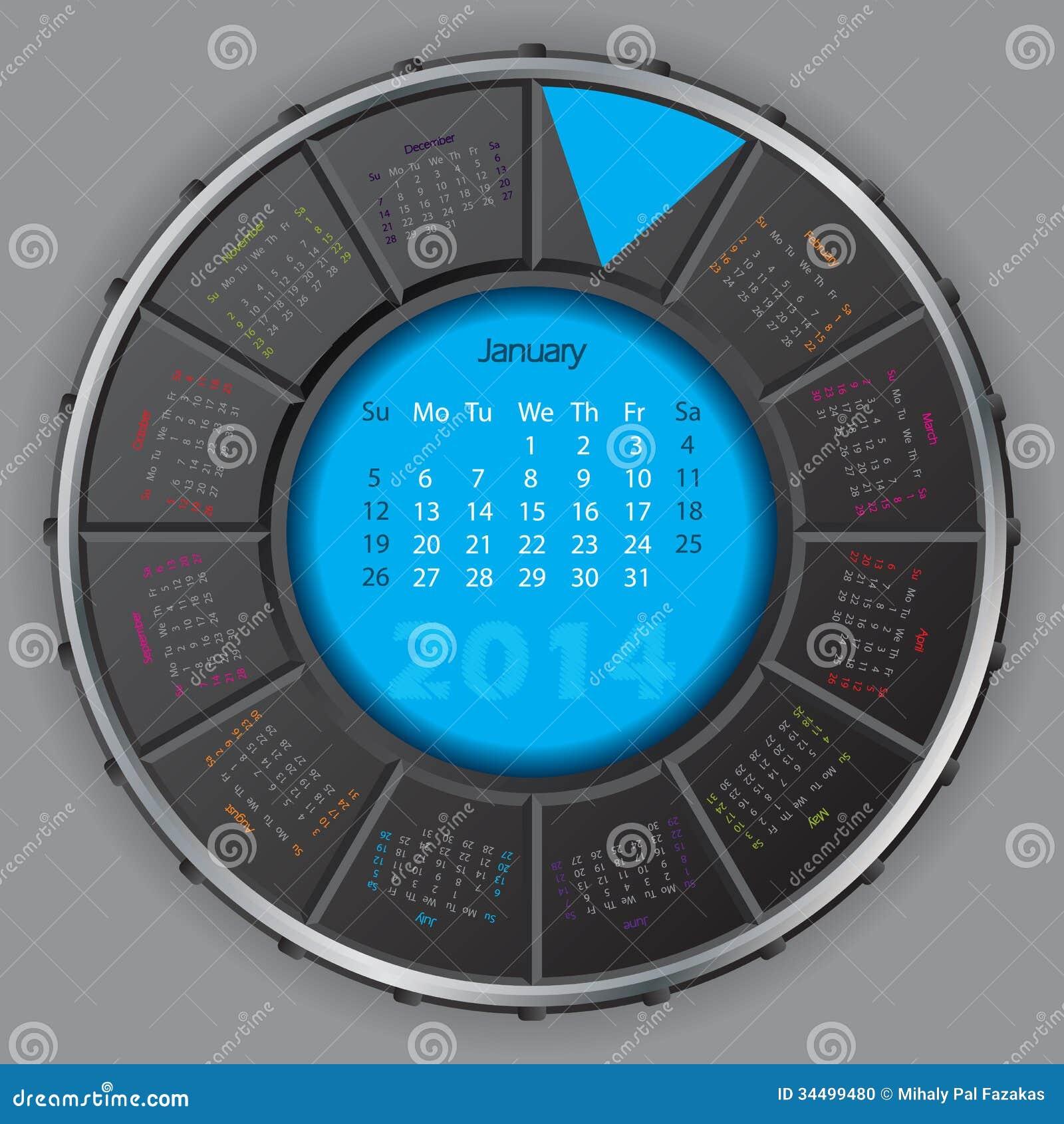Calendario rotateable digital fresco para 2014